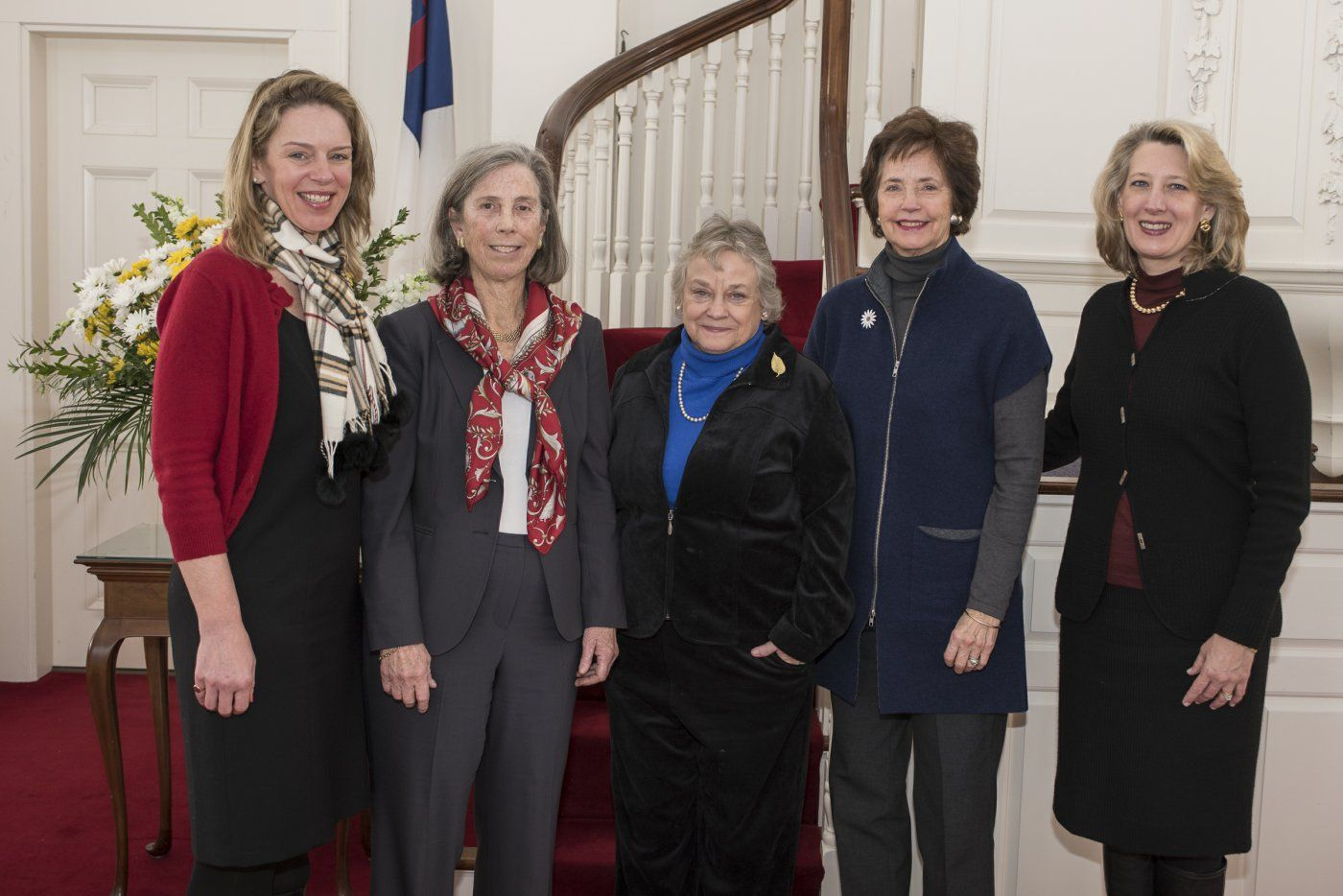 2015 Evan Burger Donaldson '51 Achievement Award Recipient, Ambassador Louise Vietor Oliver '62 pictured with Head of School Kate Windsor, Gretchen Groat Blake '62, and Trustees, Mimi Colgate Kirk '57 and Fraser Bennett Beede '81.