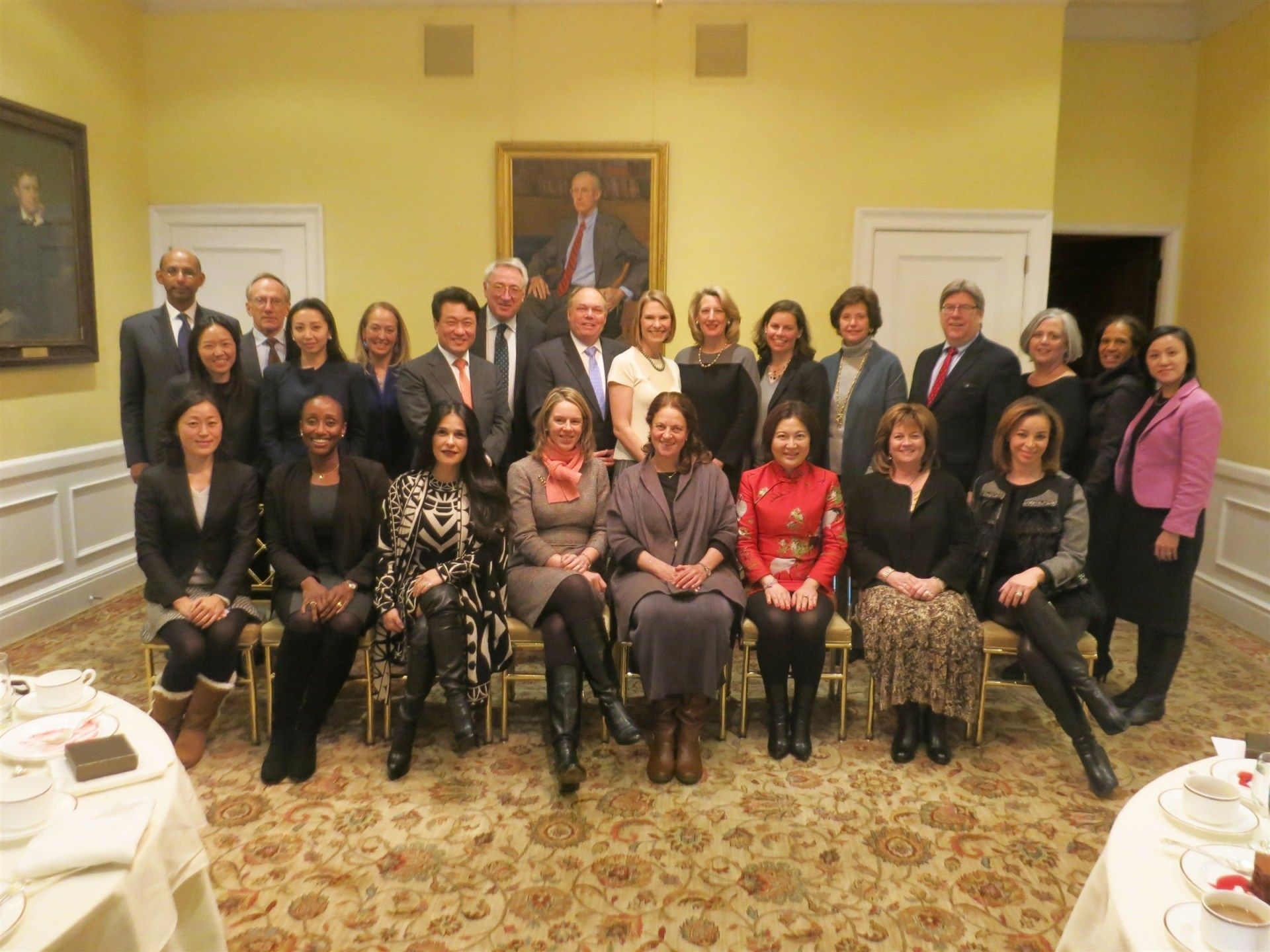 January 21, 2016. International Advisory Committee Welcome Luncheon. Trustees, Ancients, parents and friends gathered at the Harvard Club of NYC to celebrate the launch of the International Advisory Committee for Miss Porter's School. Pictured are (front row left to right): Yasuko Nagase '96 (Tokyo), Pippa Tubman Armerding '86 (Johannesburg), Martha E. Debayle P'17 (Mexico City), Dr. Katherine G. Windsor, Susan E. Pick '70 (Mexico City), Baojun Gao P'17 (Shanghai), Sharon McQuade P'11, Fiona Cibani P'19; (back row left to right): Dr. Vivek Mohindra P'19, Miyoung Lee '99, John C. Wilcox P'10, Annie Y. Zhou '02 (Beijing), Audrey L. Klein '83 (London), Dr. Wang Jun Lee P'17 (Seoul), Martin J. Nance P'15, Thomas G. Dudeck P'09, 05, Diana Russell Terlato '86, Fraser Bennett Beede '81, Karen T. Staib '90, Mimi Colgate Kirk '57, Dr. J. Michael McQuade P'11, Julia McCormack, Colleen Barnswell P'16 and Rebecca Yao P'19.