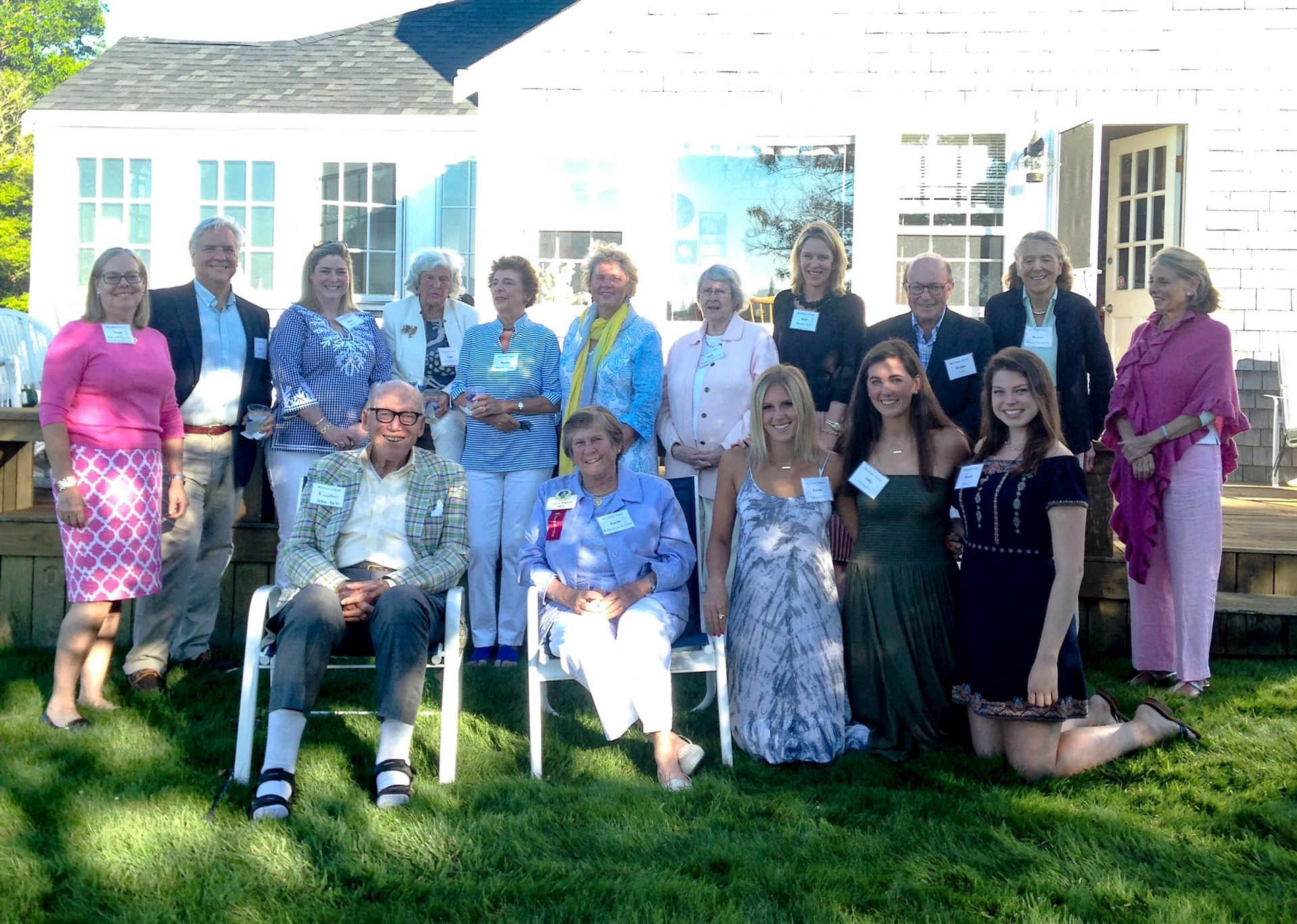 July 26, 2017. Reception on Nantucket hosted by Lucile Walker Hays '56, GP'09 with special guest Head of School Dr. Kate Windsor. Seated left-right: Kingston Fletcher; Lucile Walker Hays '56, GP'09; Emma Updegrave '17; Abby O'Connell '17; Merritt Gibson '17; Standing left-right: Susan Walker P'06, director of gift planning and stewardship; David Walek P'17; Betsy Gibson P'17; Topsy Larsen Simonson '47, P'71; Marilee Matteson P'72, P'79; Lynn Matteson '72; Polly Ruckgaber McLeod '50; Kate Windsor; Dennis Cross; Barbara Mitchell Erskine '48; Anne Frothingham Cross '62