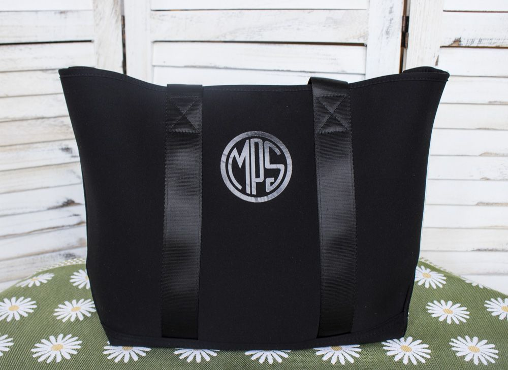 "MPS Logo Tote with Shoulder Length Seatbelt Style Handles - Black on Black - 100% Neoprene - 19""W x 12""H"