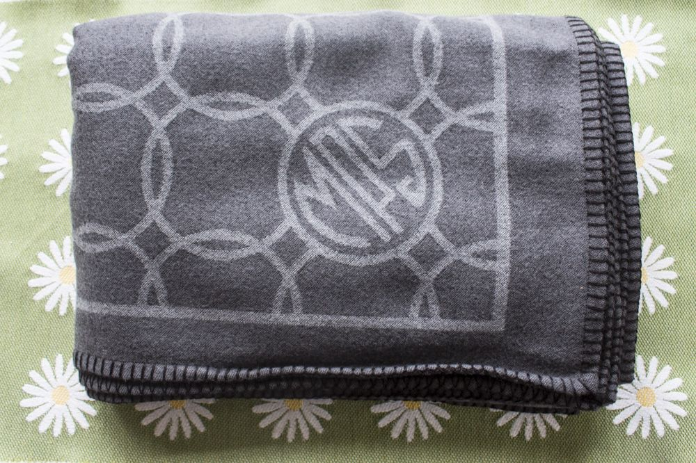 100% Wool Throw - 140 x 160 cm - Woven in France - MPS Logo Depicted in One Corner