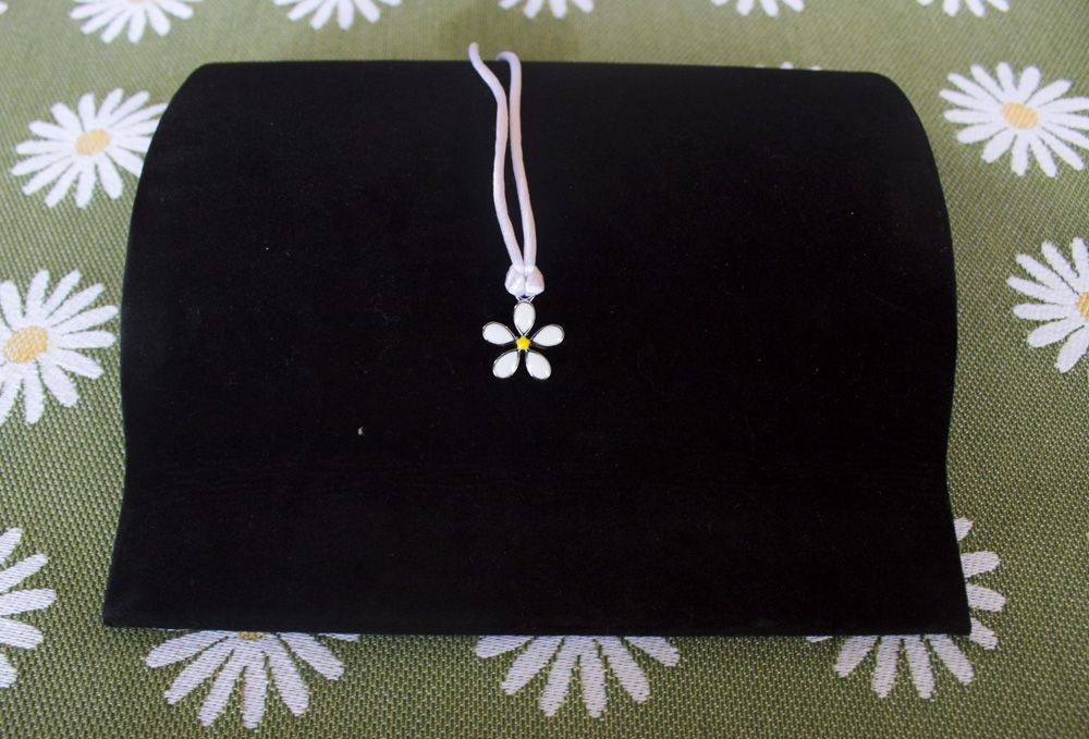 Daisy Necklace on Silk Cord - Silver-Plate - Black and White Cording Included