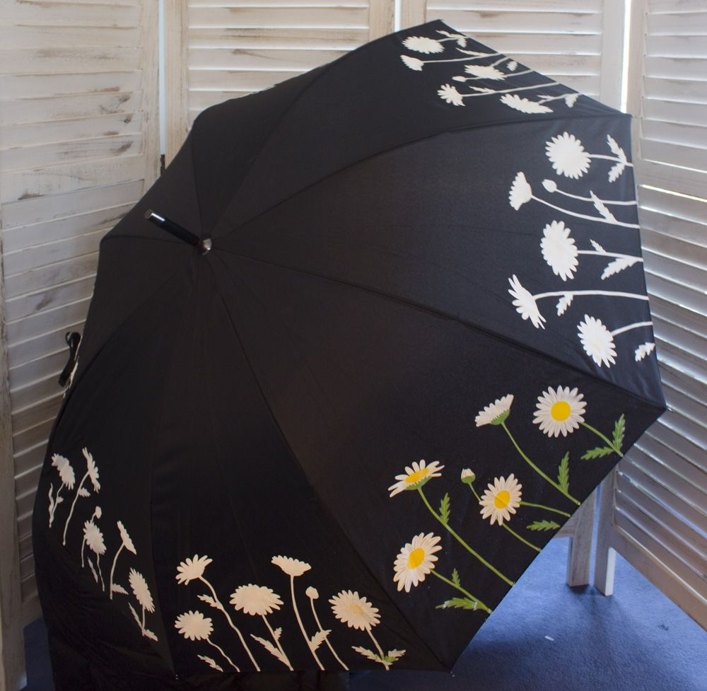 Daisy Color-Changing Umbrella - Logo on Black Strap Closure with Clear PVC Case