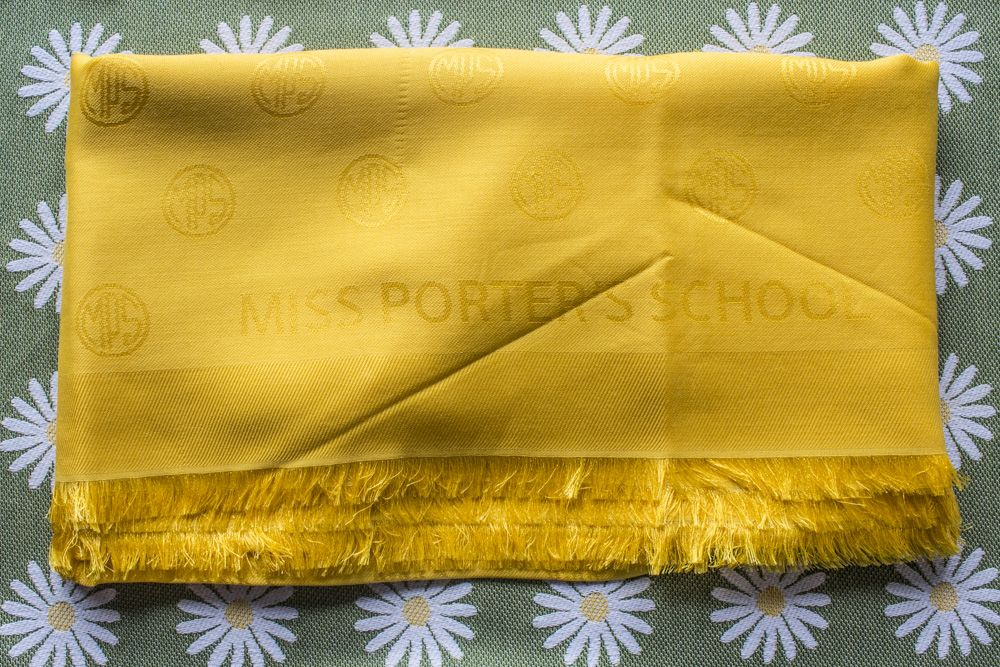 MPS Logo Shawl - Pashmina Style - 140 x 140 cm - 60% Silk, 40% Wool - Fringes on all Four Sides - Made in France