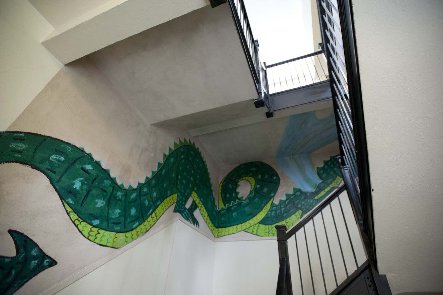Dragon stairs to the middle school.
