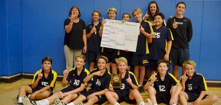 7th Grade Boys' Volleyball, led by Coach (Mrs.) Coleman & Coach Story