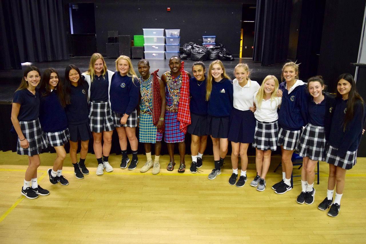 WE students meeting Maasai Warriors