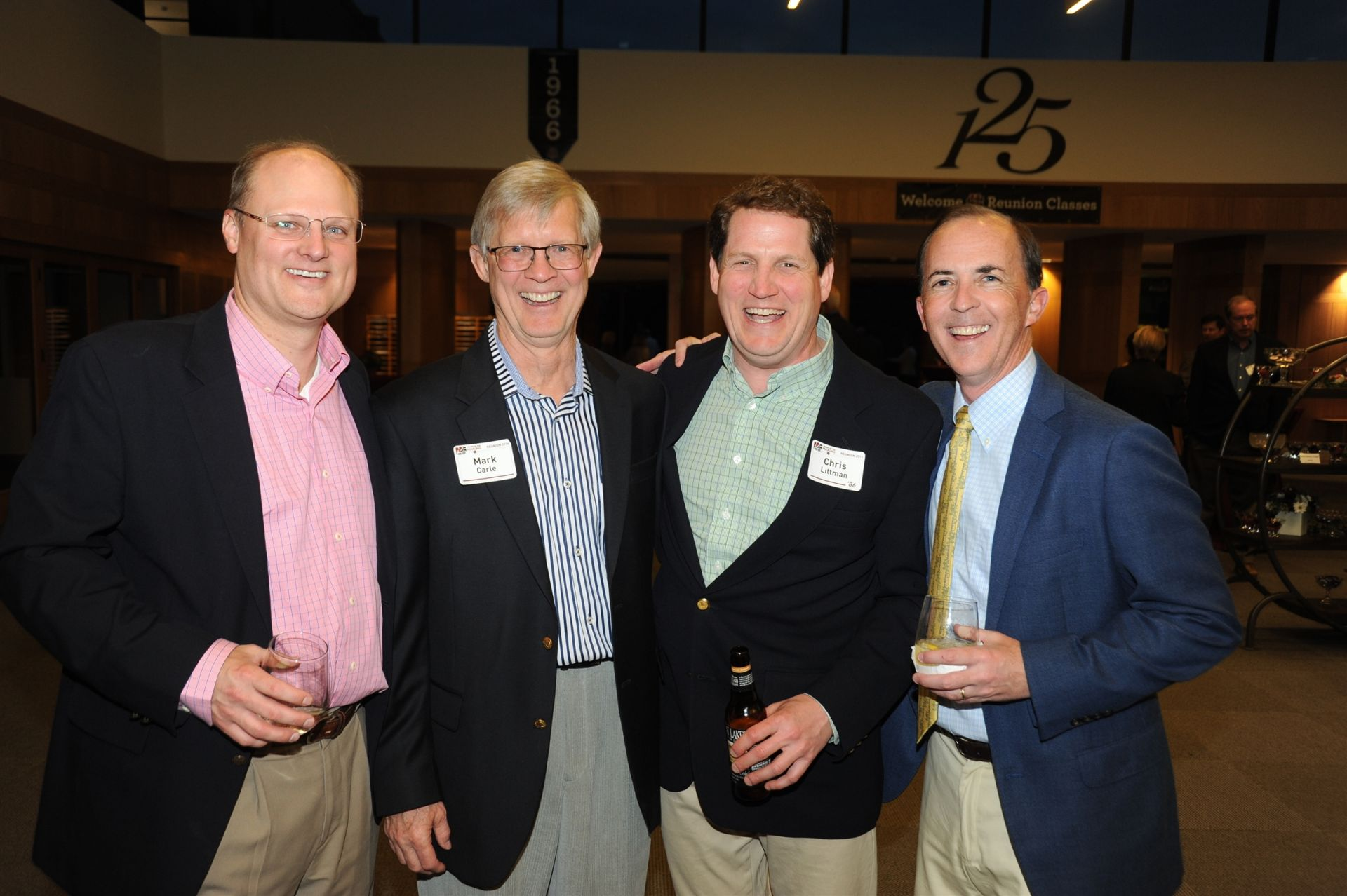 Ted Hillenmeyer '86, longtime faculty member Mark Carle, Chris Littman '86, and Matt Brinn '87