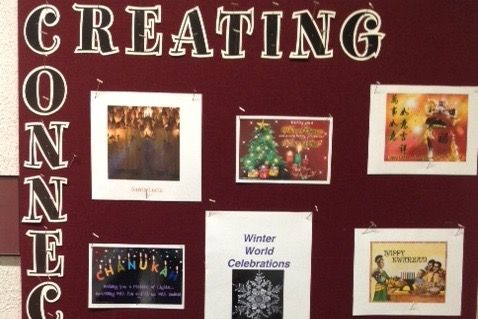 A Shaker Campus bulletin board educates students about different winter holidays