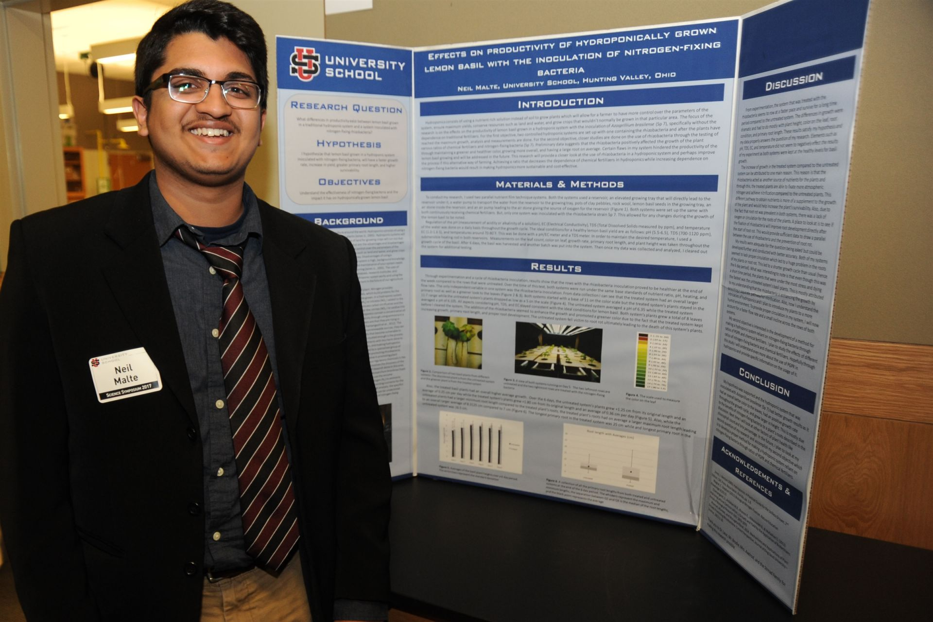 Neil Malte '17: Effects on the Productivity of Lemon Basil Grown in a Hydroponic System with the Inoculation of the Nitrogen-fixing Bacteria, Azosprillium Brasilense