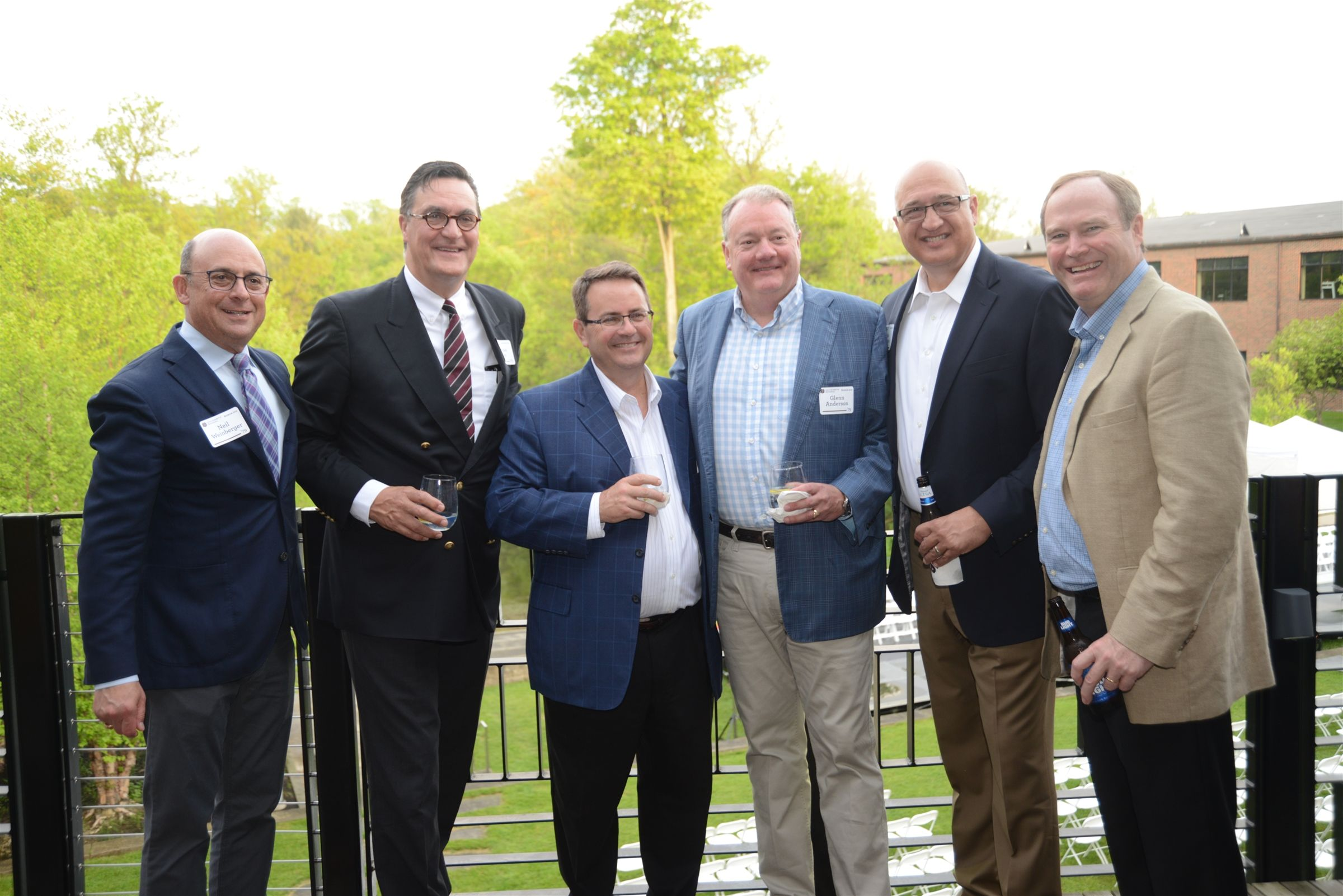 The perfect night to be on the balcony.  Members from the Class of '79 -- Neil Weinberger, Stephan Krebs, Dan McLaughlin, Glenn Anderson, Rob Patrick, and Mac Biggar are all smiles at the Hail University Reception.
