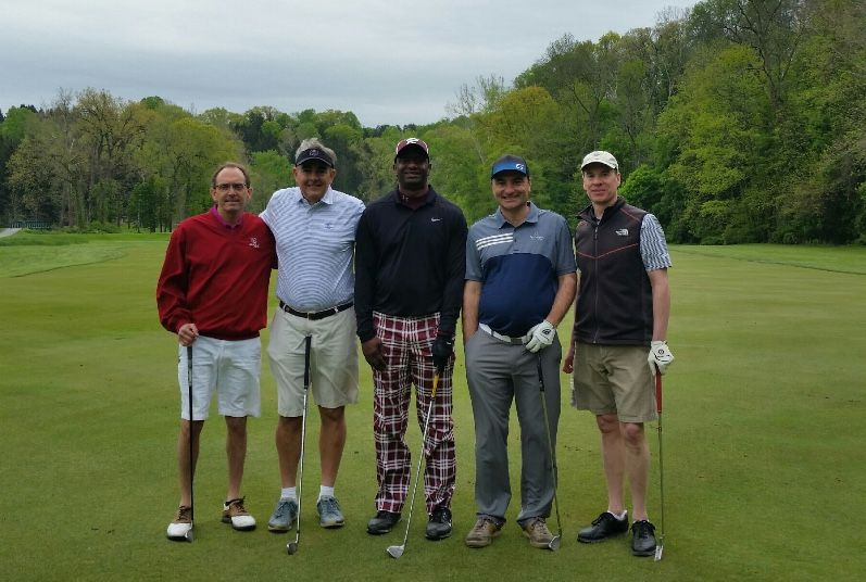 The winning team from the Class of '84 Golf Outing: Jamie Auble, Andy Sikorovsky, Darryl Sanders, Bobby Cutler, and Jonathan Hatch.
