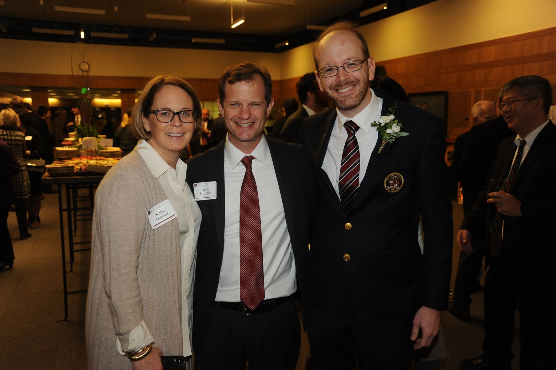 Katie and Ken Outcalt '89 with Head of School Patrick Gallagher