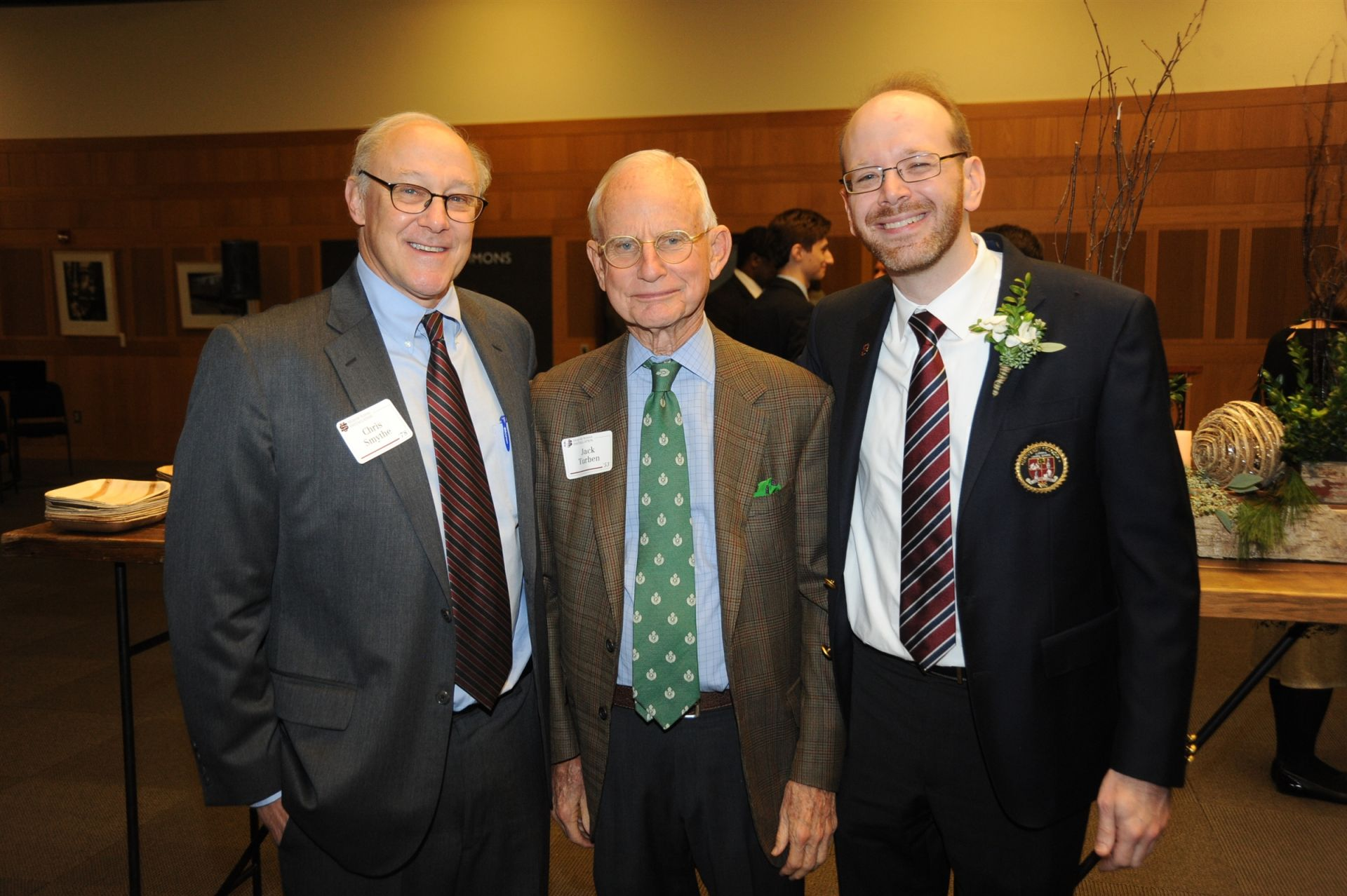 Board President Christopher Smythe '78, Life Trustee Jack Turben '53 and Head of School Patrick Gallagher