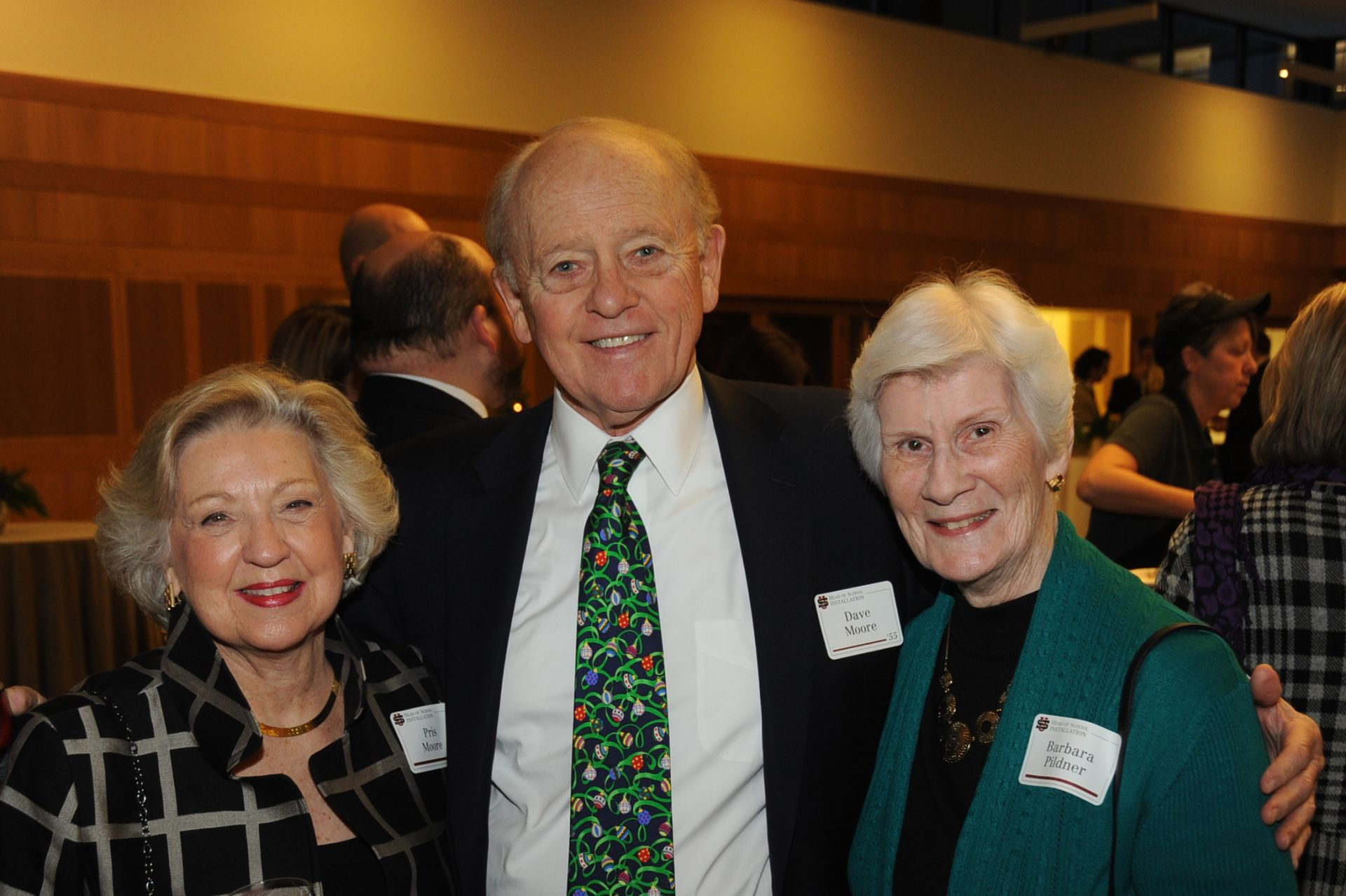 Pris and Dave Moore '55 with past faculty member Barbara Pildner