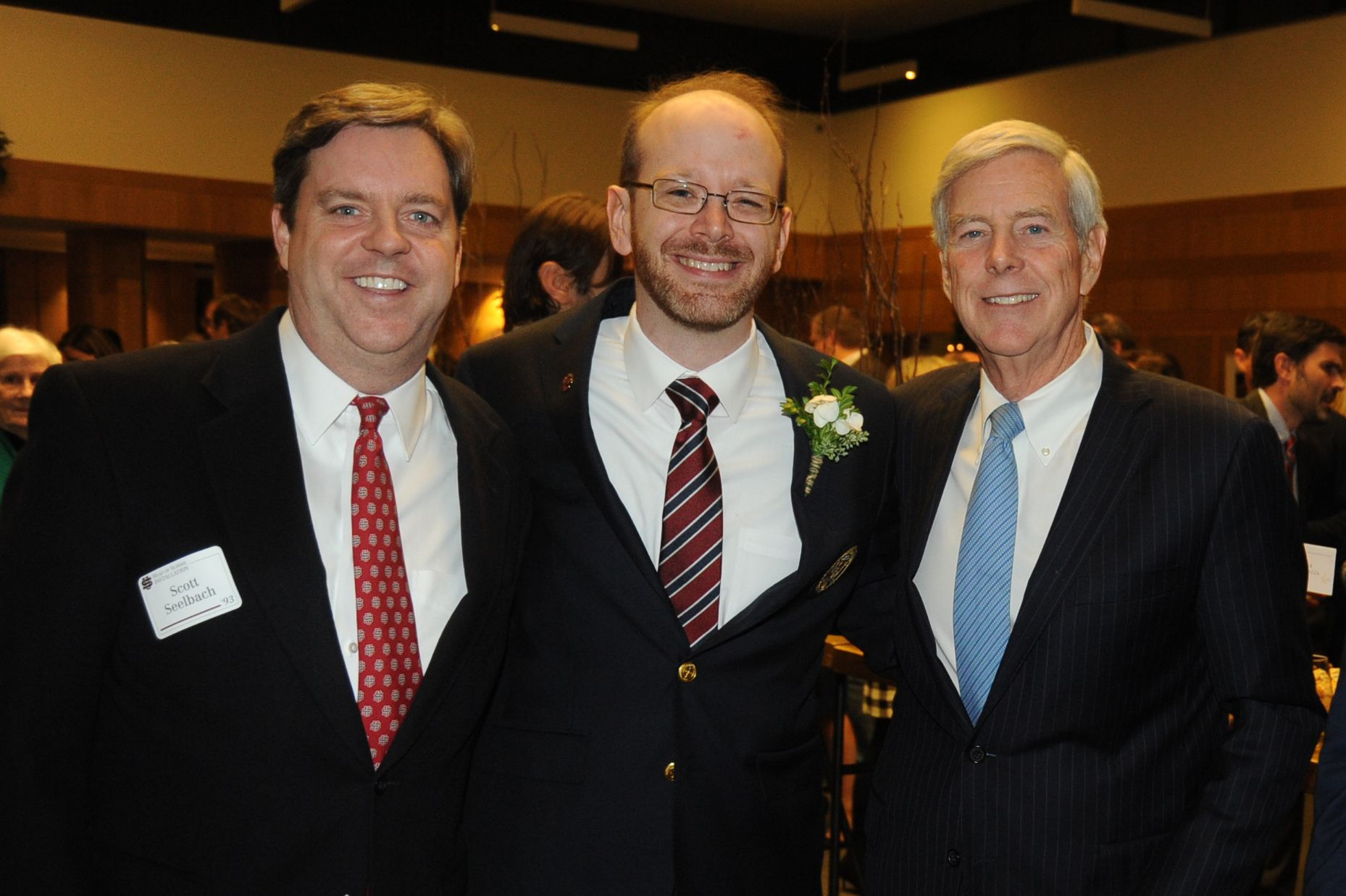 Former President of the US Alumni Association Scott Seelbach '93, Head of School Patrick Gallagher, and Life Trustee Bill Seelbach '66