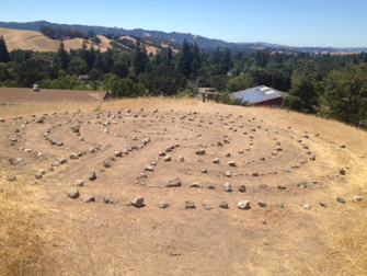 A maze created by students for walking meditation