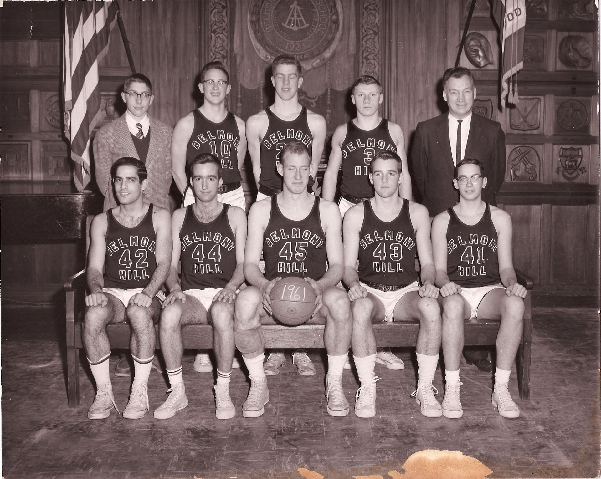 First Row: Annis, Carr, Captain Kimball, Woodbury, C. Amon Second Row: Manager Gilman, D. Amon, Mclean, W. Croke, Coach Croke