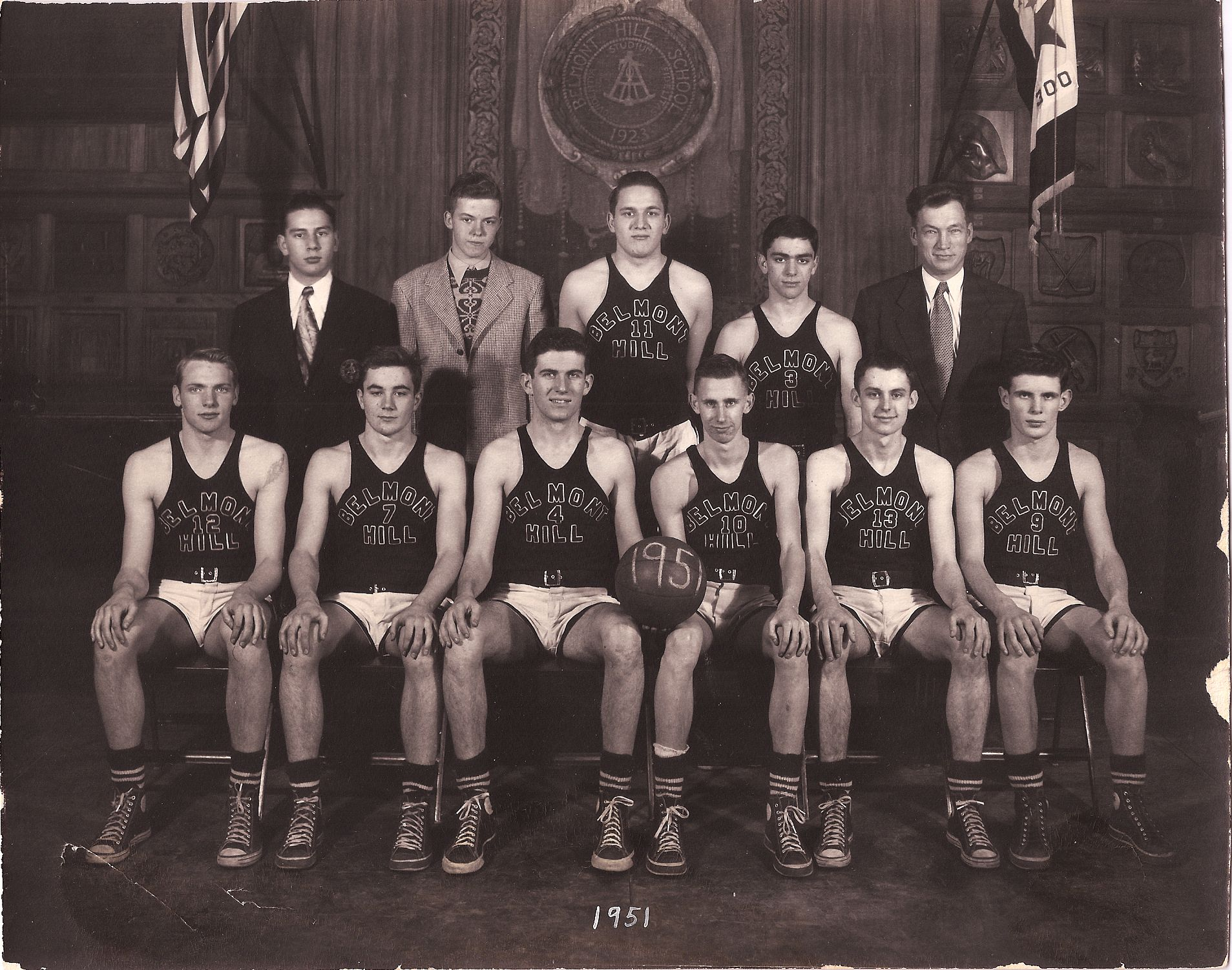 First Row: N. Hurlbut,W. Manly, Co-Captains F. Scanlan and G. Cranney, R. Studley, G. Vrotsos Second Row: Managers R. blacklow, R. Cooke, M. Patterson, H. Ulfedler, Mr. Croke