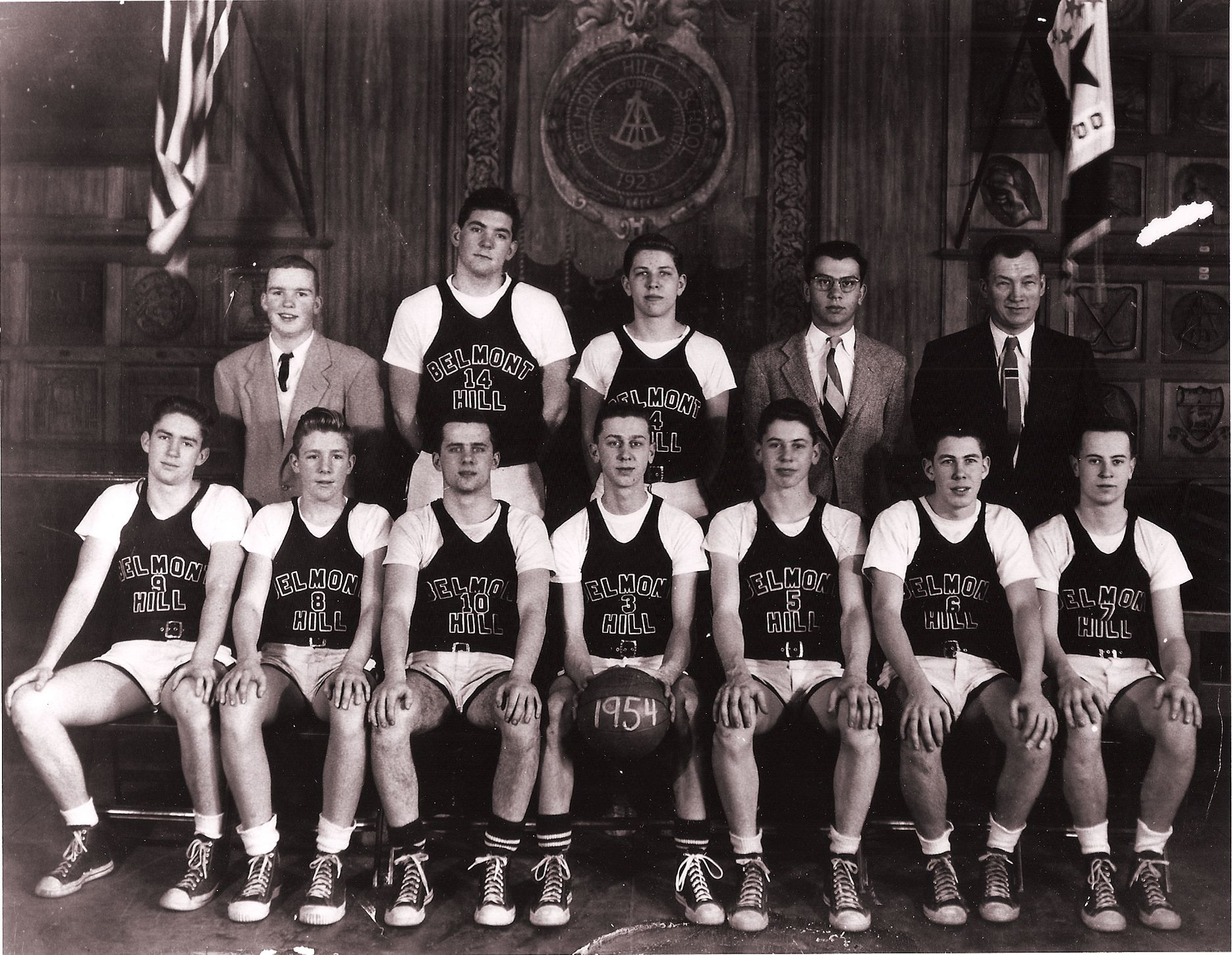 First Row: Burgess, R. Woodbury, Meehan,(Capt), P. Repetto, Hathaway, E. Stevens Second Row: Hammond, Hurd, Helms, Blacklow, Mr. Croke