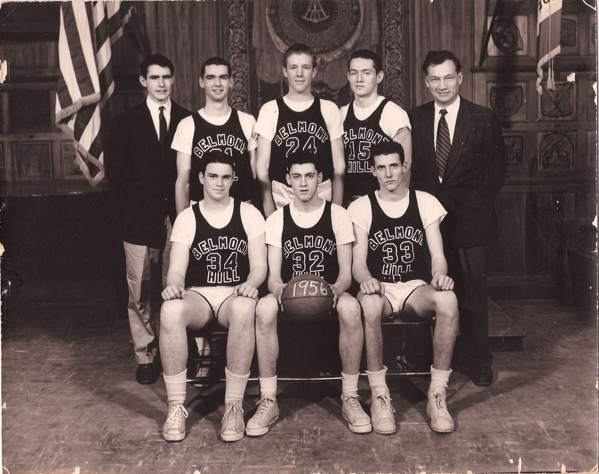 Front Row: Watters, Captain Zayotti, Davidson Back Row: O'Leary, P. O'Leary, R. Woodbury, J. Wilcox, Mr. Croke