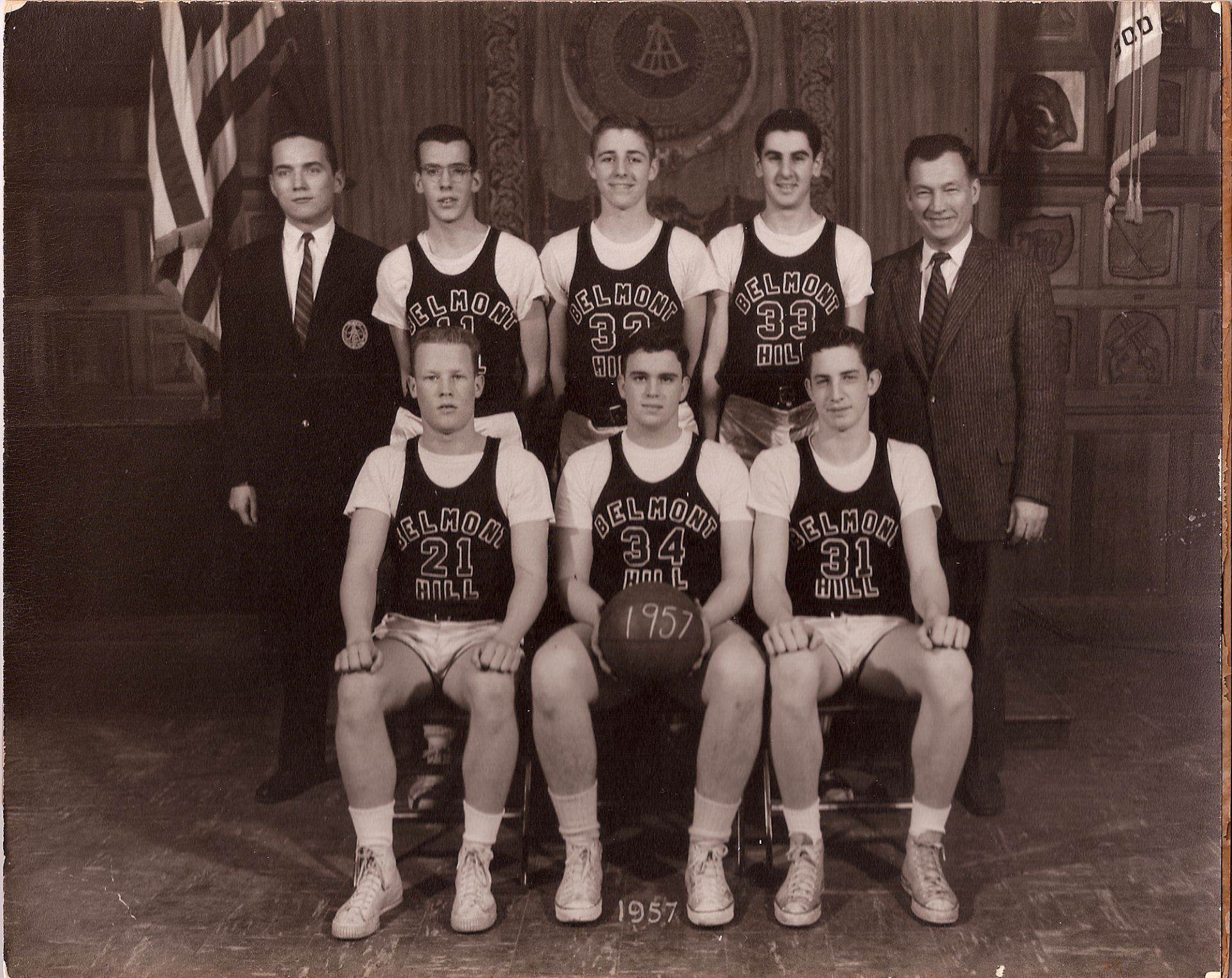 First Row: Keville, Captain Watters, Blackwood Second Row: S. Wilcox, Eyrick, J. Woodbury, Nahigian, Mr. Croke