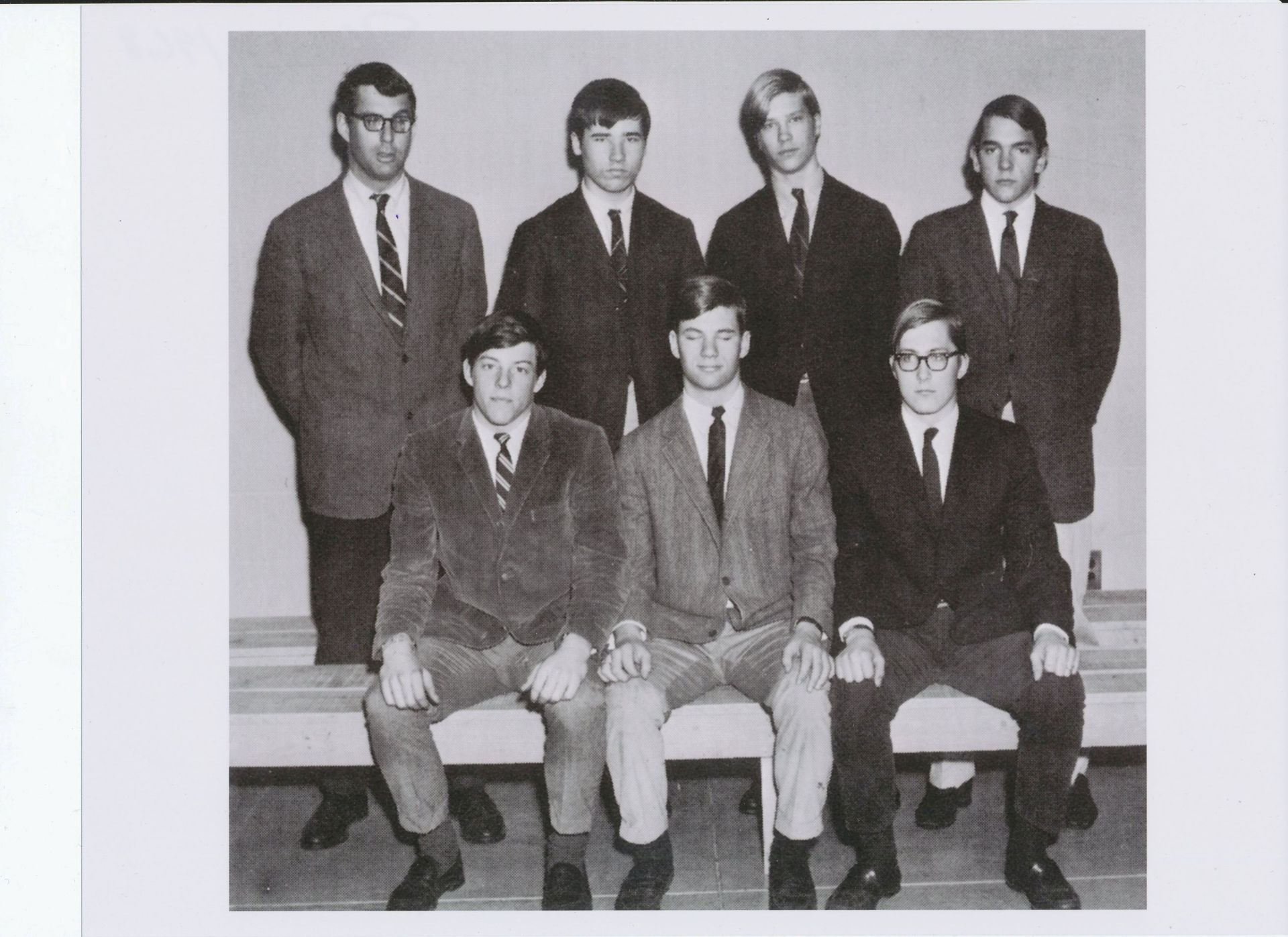 First Row; Richardson, Willett, Pastuhov,  Second Row: Mr. Bates, Burley, Siebert, Carlhian