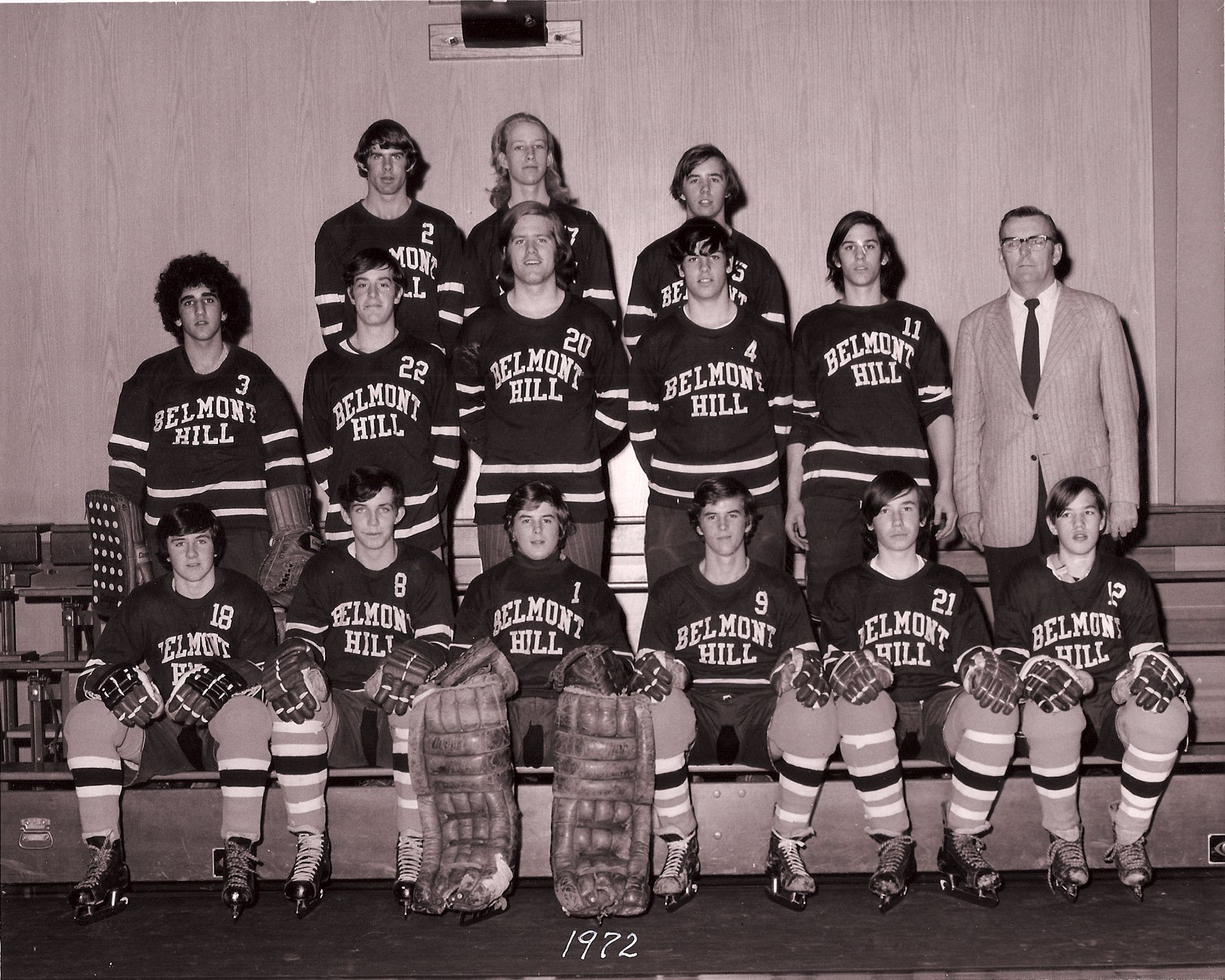 First Row: Finnerty, Lyons, John Aiken, Jim Aiken, Flynn, Dave Kelly,  Second Row: Wald, Weeks, Robertson, Shanahan, Schley, Mr. Walworth,  Third Row: Burchard, Dunphy, Paul Kelly