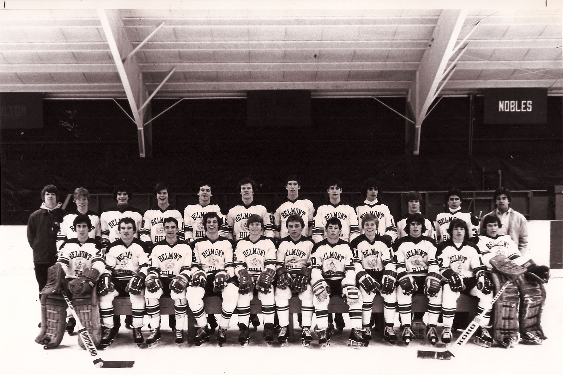 First Row: B. Michals, R. Walsh, P. Derba, J. Leavitt, M. Fusco, G.Klapes (capt), M. Morrison, P. Sullivan, K. Simon, G. Scott, T. Foster Second Row: Coach K. Martin, S. Fusco, F. Matera, J. Moulton, R. Gallagher, P. Carrol, M. Coakley, D. Landau, C. Simon, B. McLaughlin, J. Cannistraro, M. Kolligian (manager)