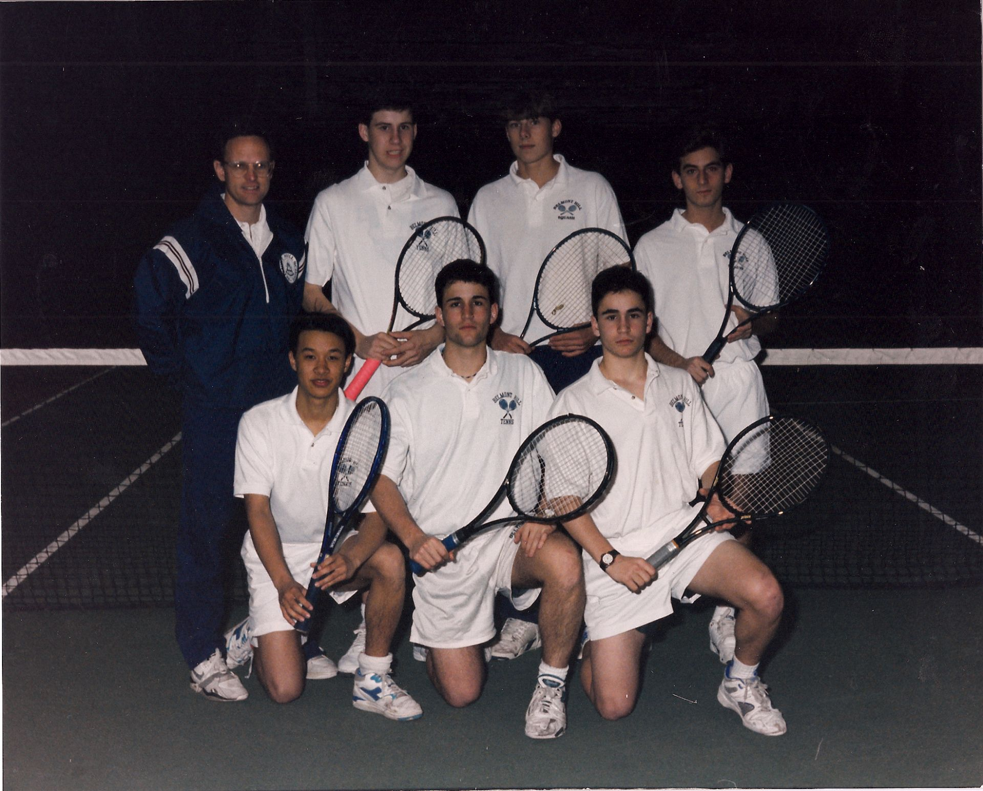 Front Row (left to right):  E. Lum, N. Keyes-Grevelis, S. Keyes-Grevelis Back Row:  Coach Hunt, J. Brennan, B. Guy, J. Boxer