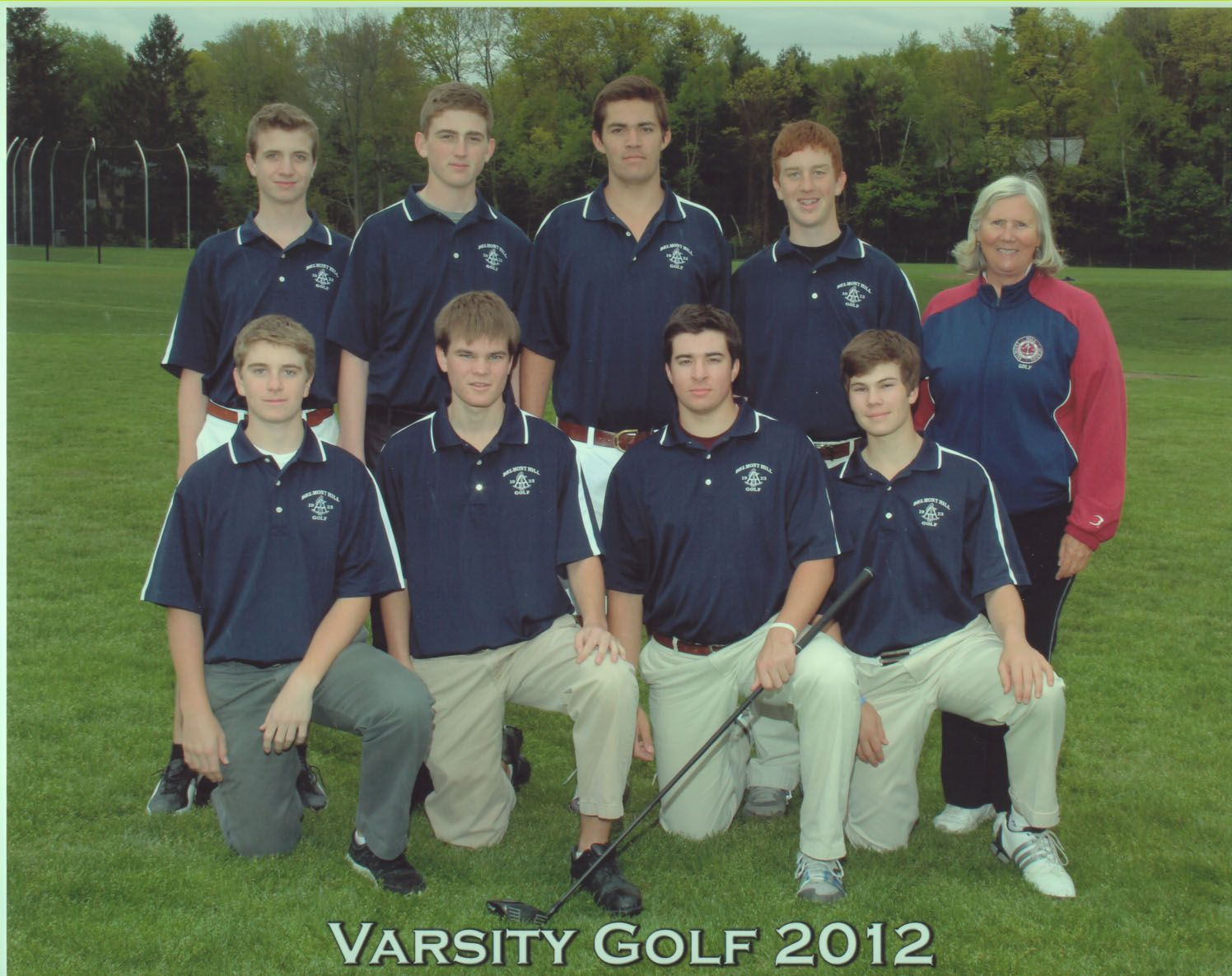 First Row: L-R- Colin Sargis, P. Burpee(Capt), John Lazor, Back Row- L-R- Riley Whitham, Shane Rossi, Tripp Hostetter, Joe Lynch, Coach Patti Whitney. Missing is Jack Kinlan
