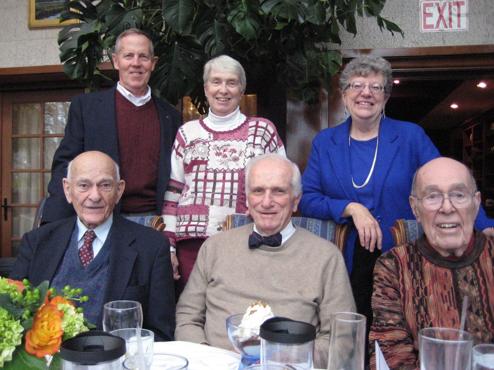 On November 7, 2012, a luncheon was held at the Daniel Webster House in Sandwich. Standing: Former faculty member Ted Burt, Eileen Burt, Connie Bickford. Seated: Dick Wilson '48, Rick Withington '42 and Art Bickford '44.
