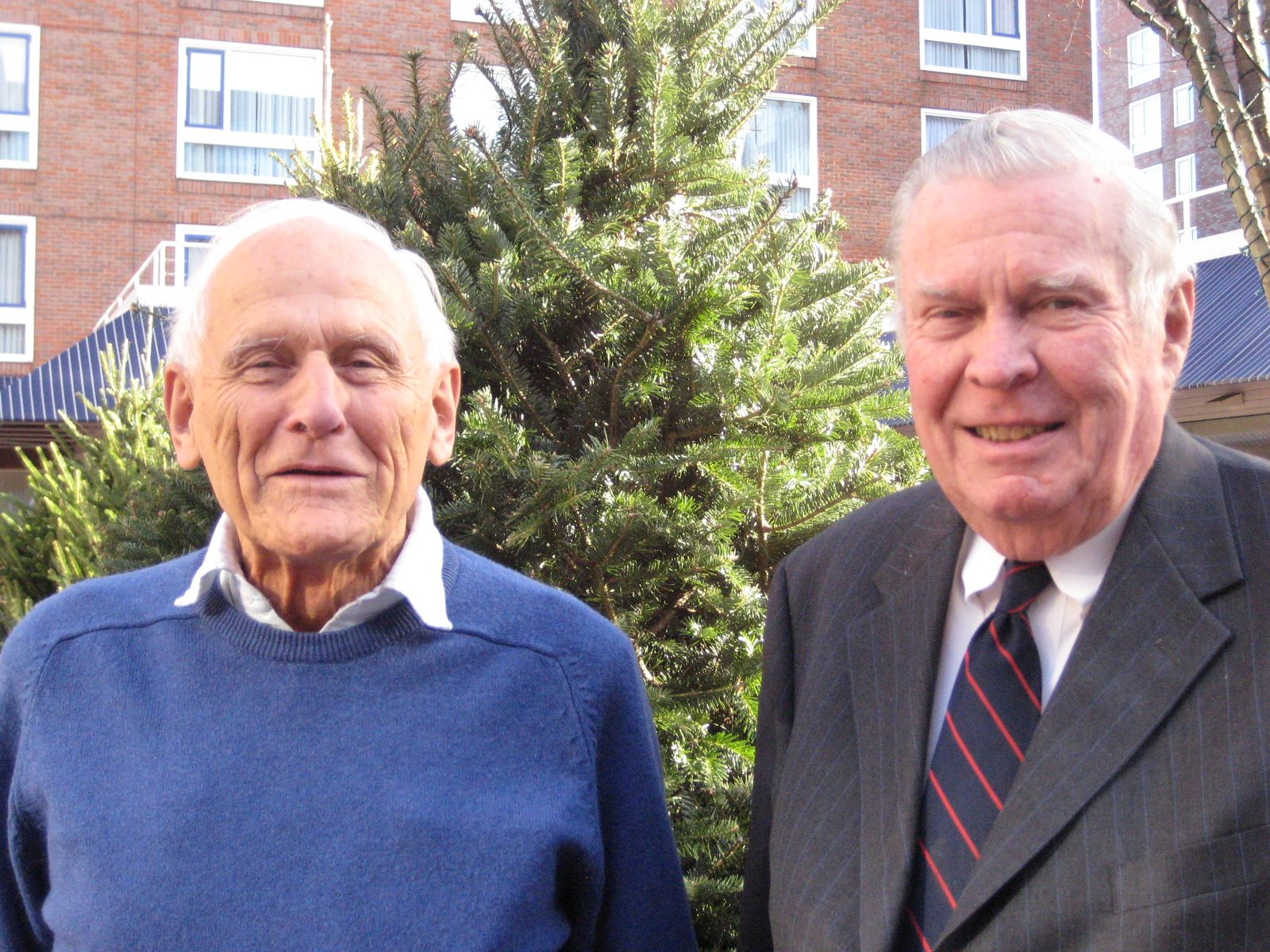 Hugh Clarke '46 (left) travelled from his home in Surrey, England to meet Jack Sullivan '46 (right) for lunch in Cambridge on November 20th.