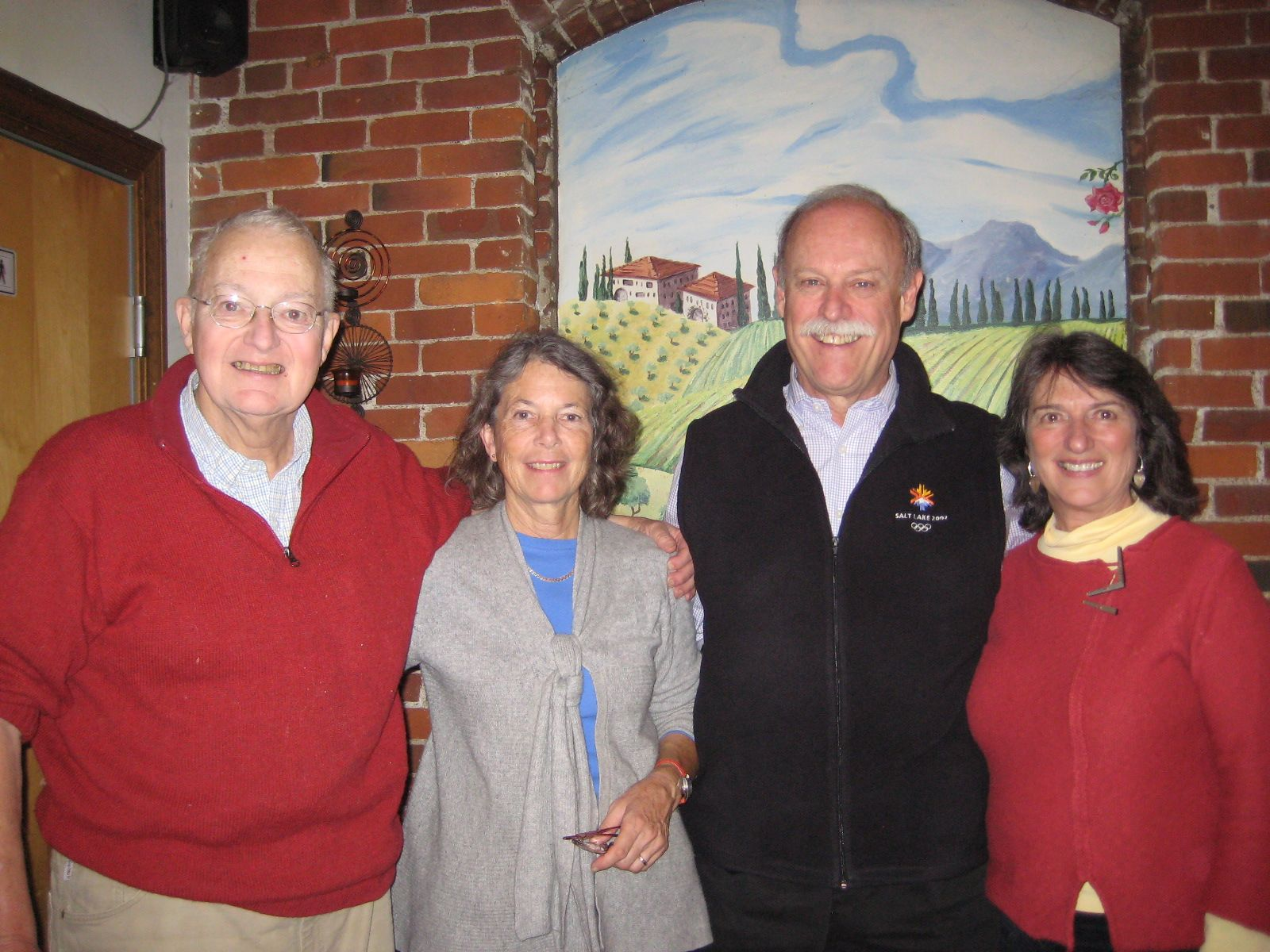On October 10, 2012 in Hanover, New Hampshire, members of Alumni staff met for coffee with the Birnies and Collas. Pictured (left to right): Pietie and Dick Birnie '62 and Judith and Stan Colla '62.