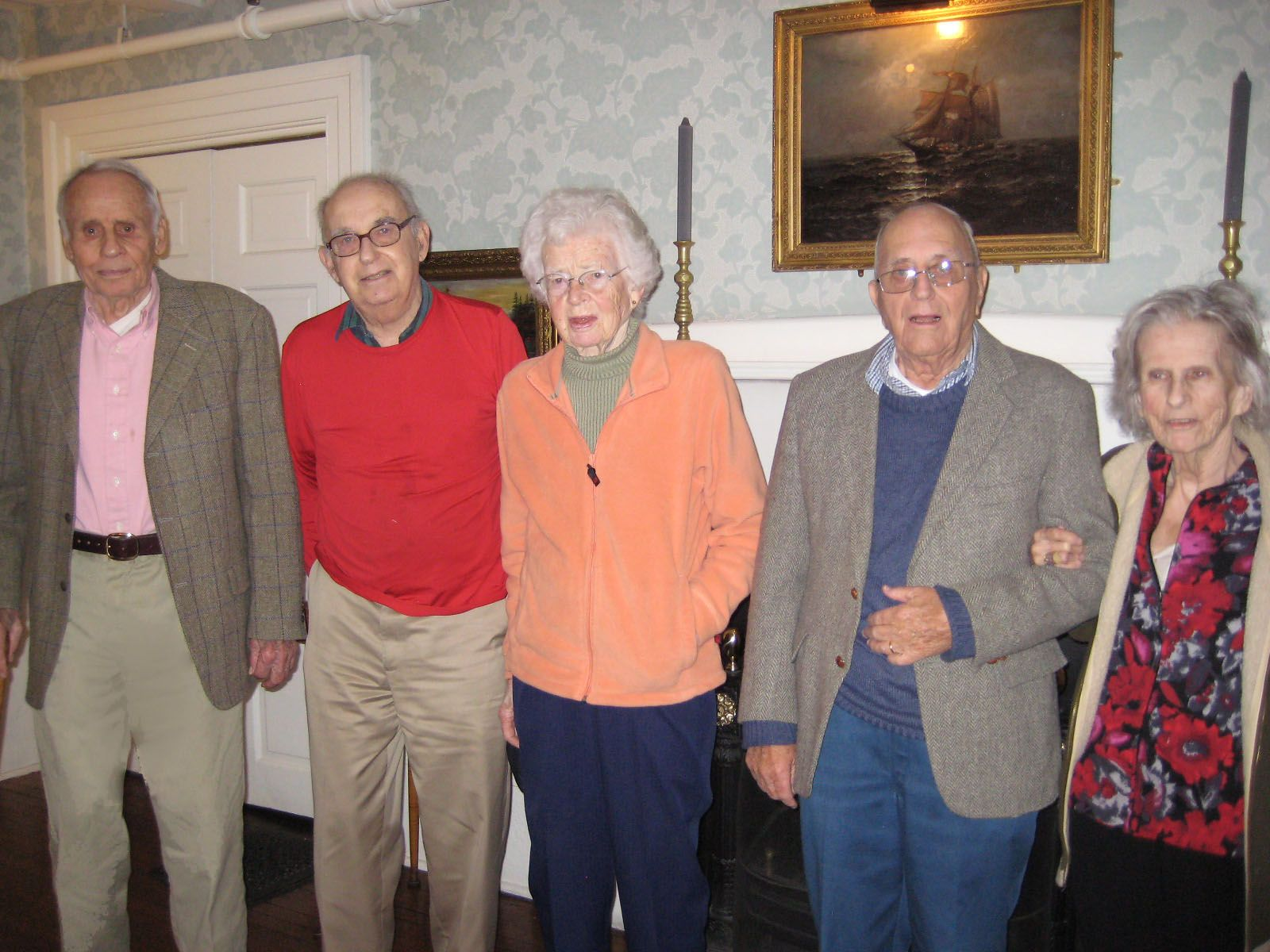 The 1941 luncheon at the Colonial Inn in Concord on October 22, 2012. (Left to right): Giff Gifford '41, Tom Porter '41, Barbara Gifford, Bob Sanford '41 and Martha Sanford.