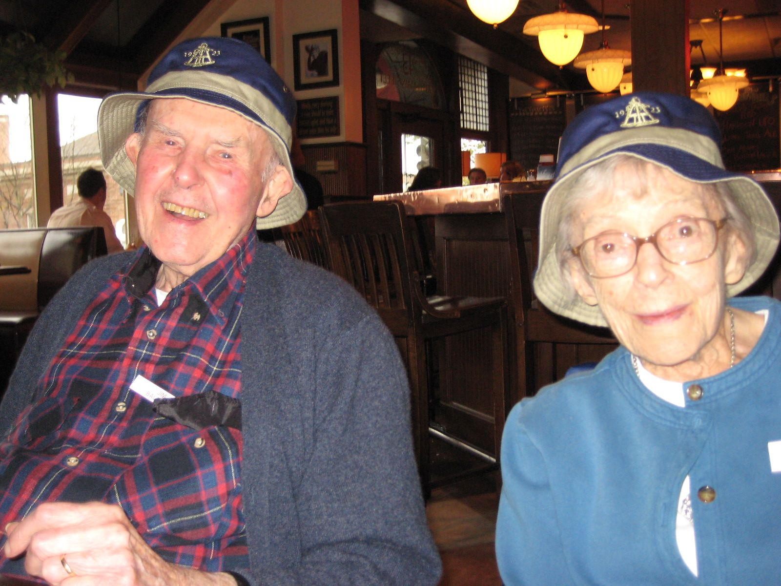 Hattie and Jim Baldwin '38 in Hanover, New Hampshire enjoying lunch with members of the Alumni House on October 10, 2012.