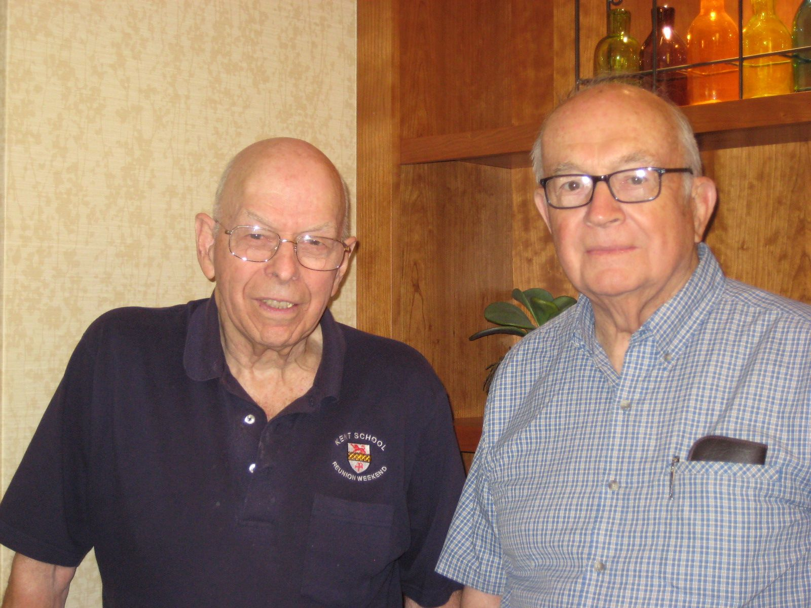 Former faculty member Brud Humphreys with Fred Rice '47 at New Pond Village, Walpole on July 30, 2014.