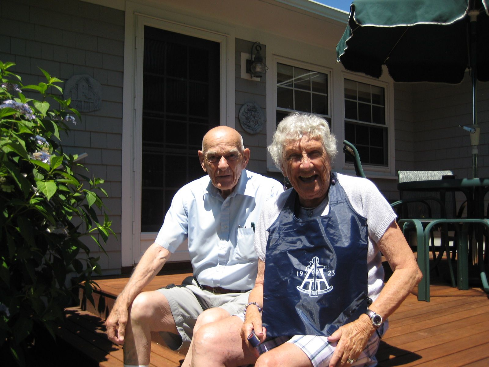 Jane and Dick Wilson '48 in Dennis, MA on Wednesday July 22, 2015.