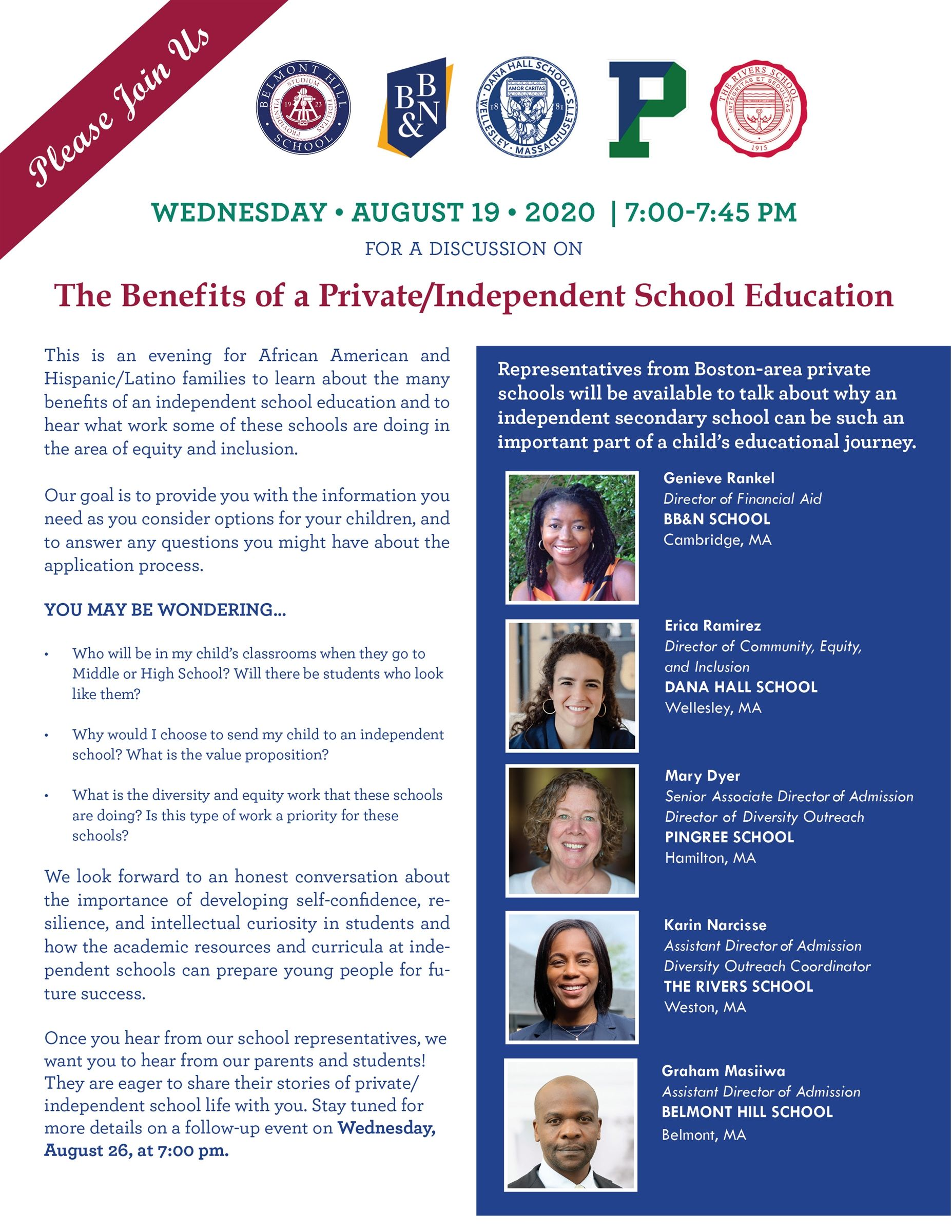 The Upper School Diversity Consortium is hosting a webinar to learn more about the private/independent school experience.