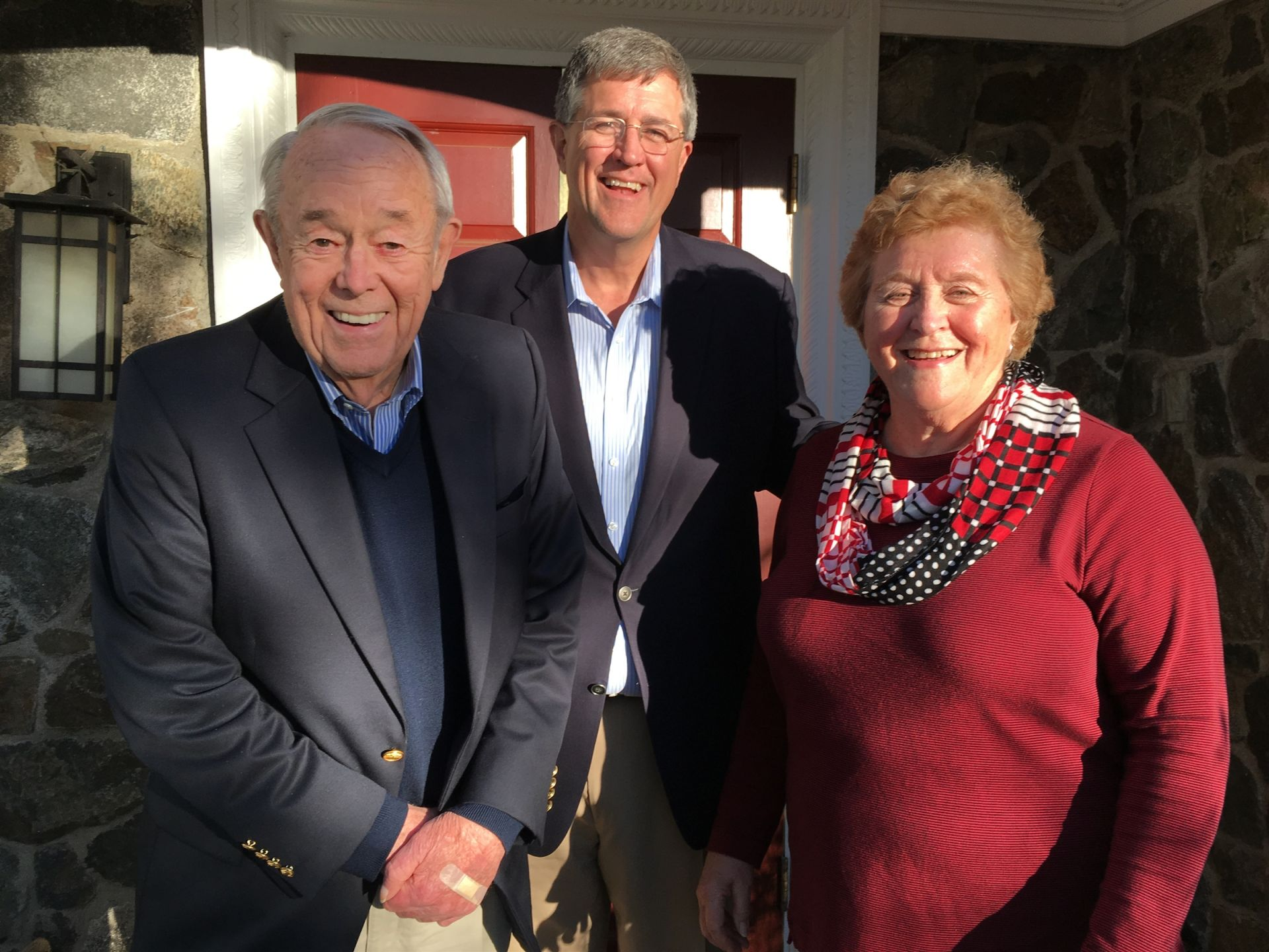 Barbara, Doug, and Pete Birnie '53 visiting Belmont Hill on November 18, 2016.