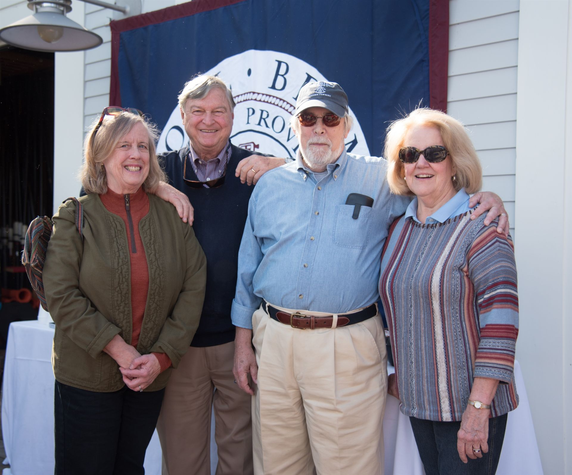 Sandy Downes, Greg Downes '57, Dave Brainard '58, and Sallie Brainard at the Head of the Charles, October 2017.