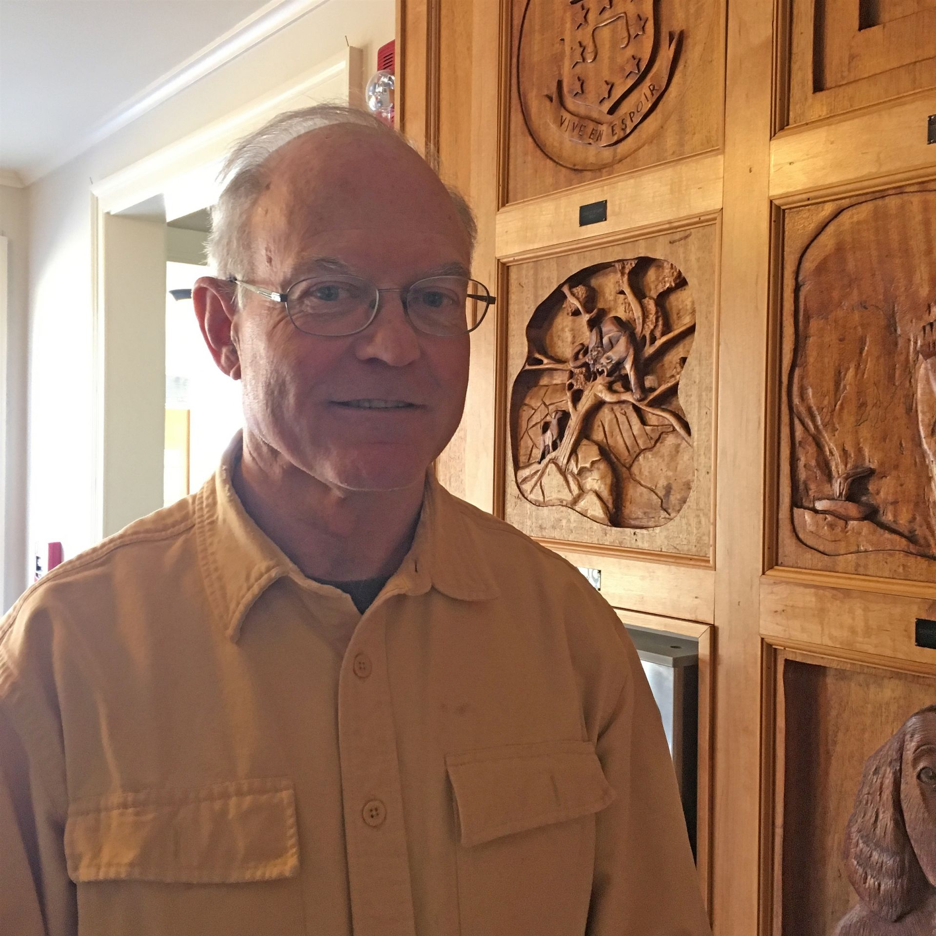 Charlie Whipple '64 on a visit to Belmont Hill in February 2019.