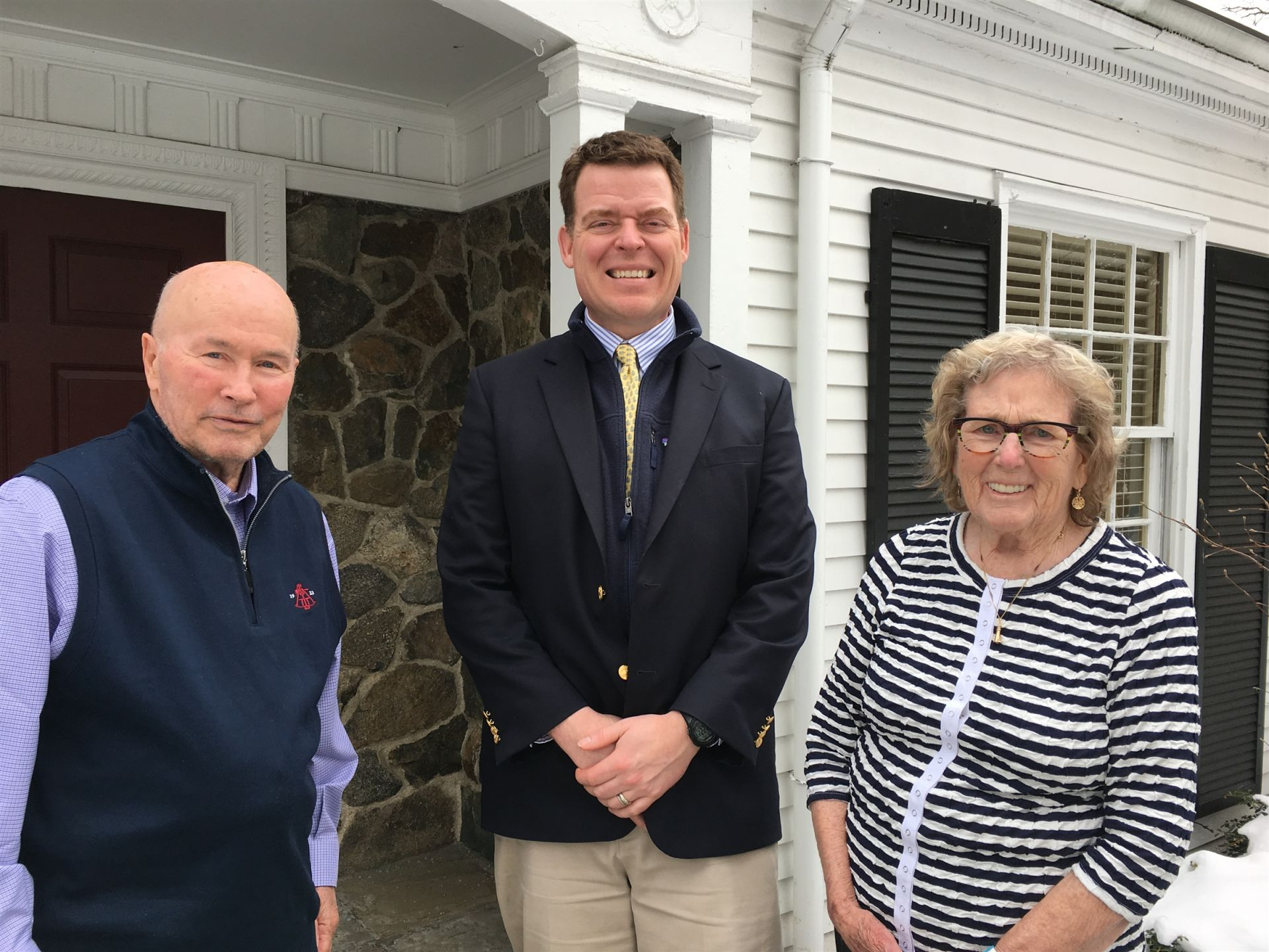 Polly and John Pike '49 visit Alumni House in February 2019.
