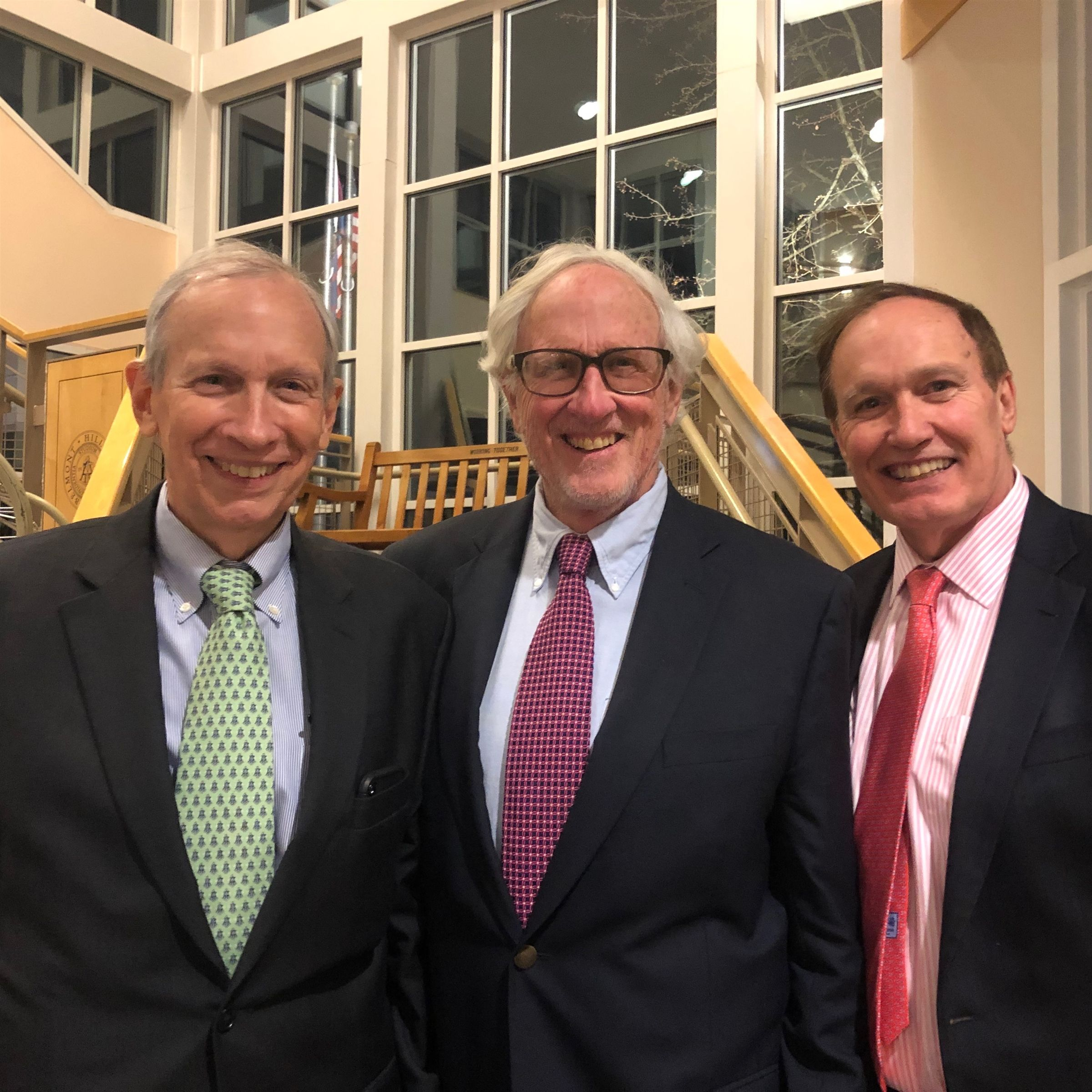 The Amon Brothers: Hank Amon '61, Doug Amon '63, and Tom Amon '65 at the Alumni Holiday Dinner, December 2019.