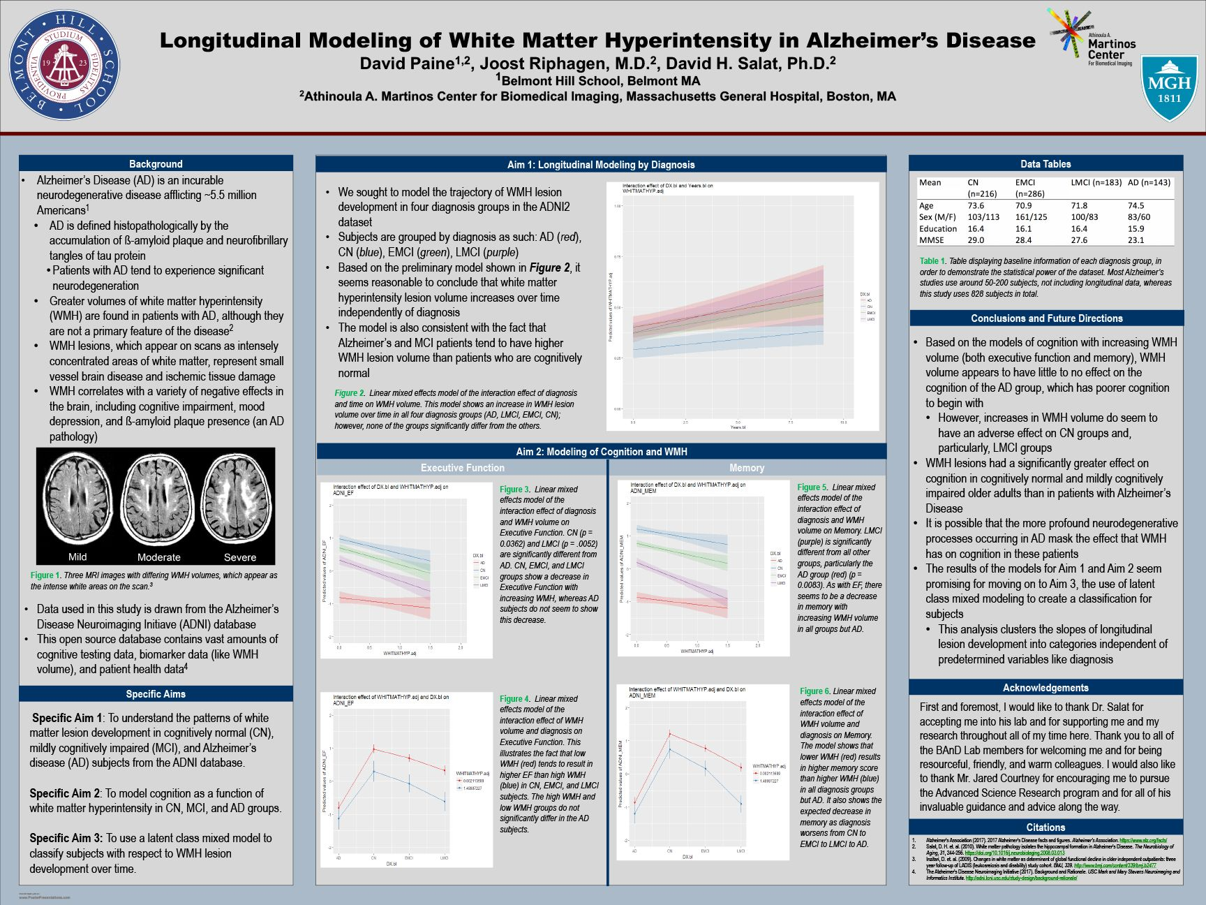 David Paine '18 - Longitudinal Modeling of White Matter Hyperintensity in Alzheimer's Disease