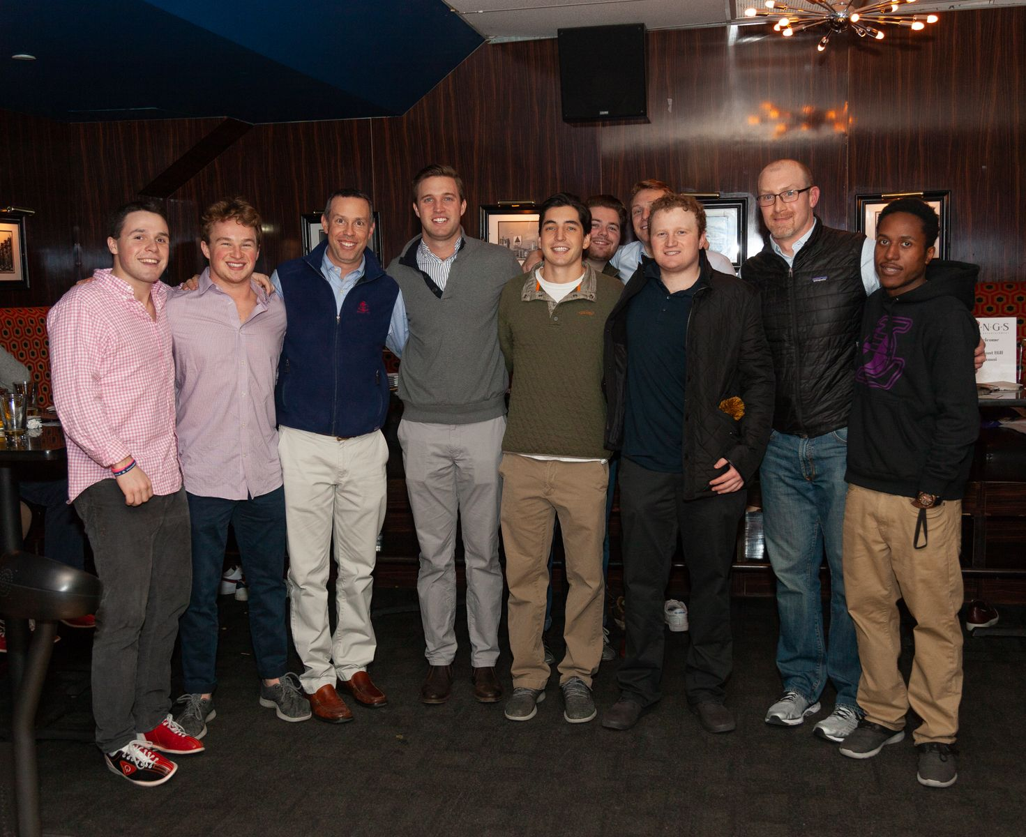 Young Alumni enjoy bowling at Kings with faculty members Tim Sullivan and Tyson Trautz, January 3, 2019.