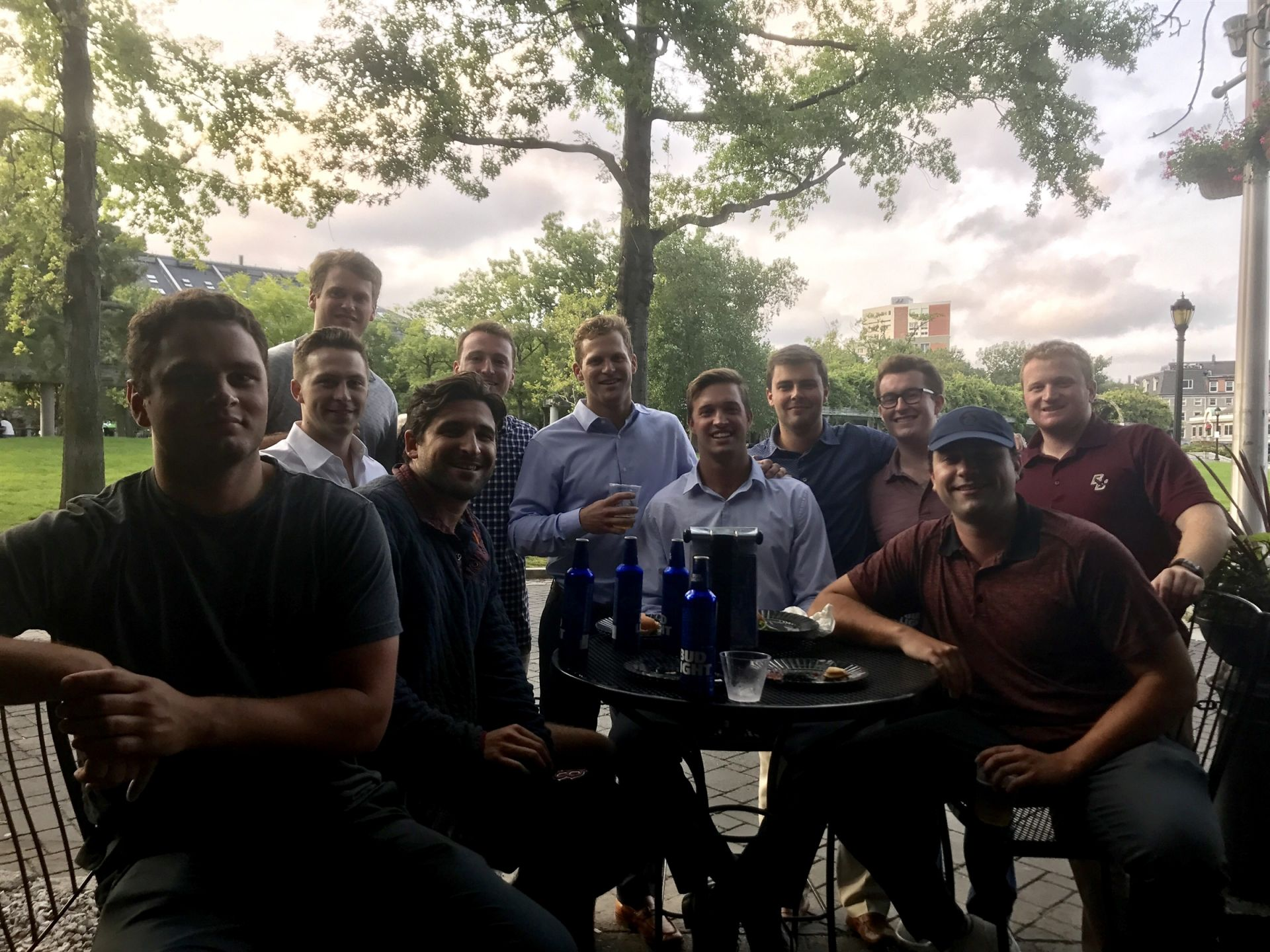 Recent Alumni Gathering at Tia's, August 21, 2018.  Seated: Charlie Hill '14, Danny Seibel '14, Max Gustafson '14, Jimmy Hatton '14 Standing: Mike Leary '13, Ryan Bathon '14 , Harry Roberson '14, Greg Plumb '14, Jack O'Hara '13, Matt O'Neal '15, Drew Morrissey '14.