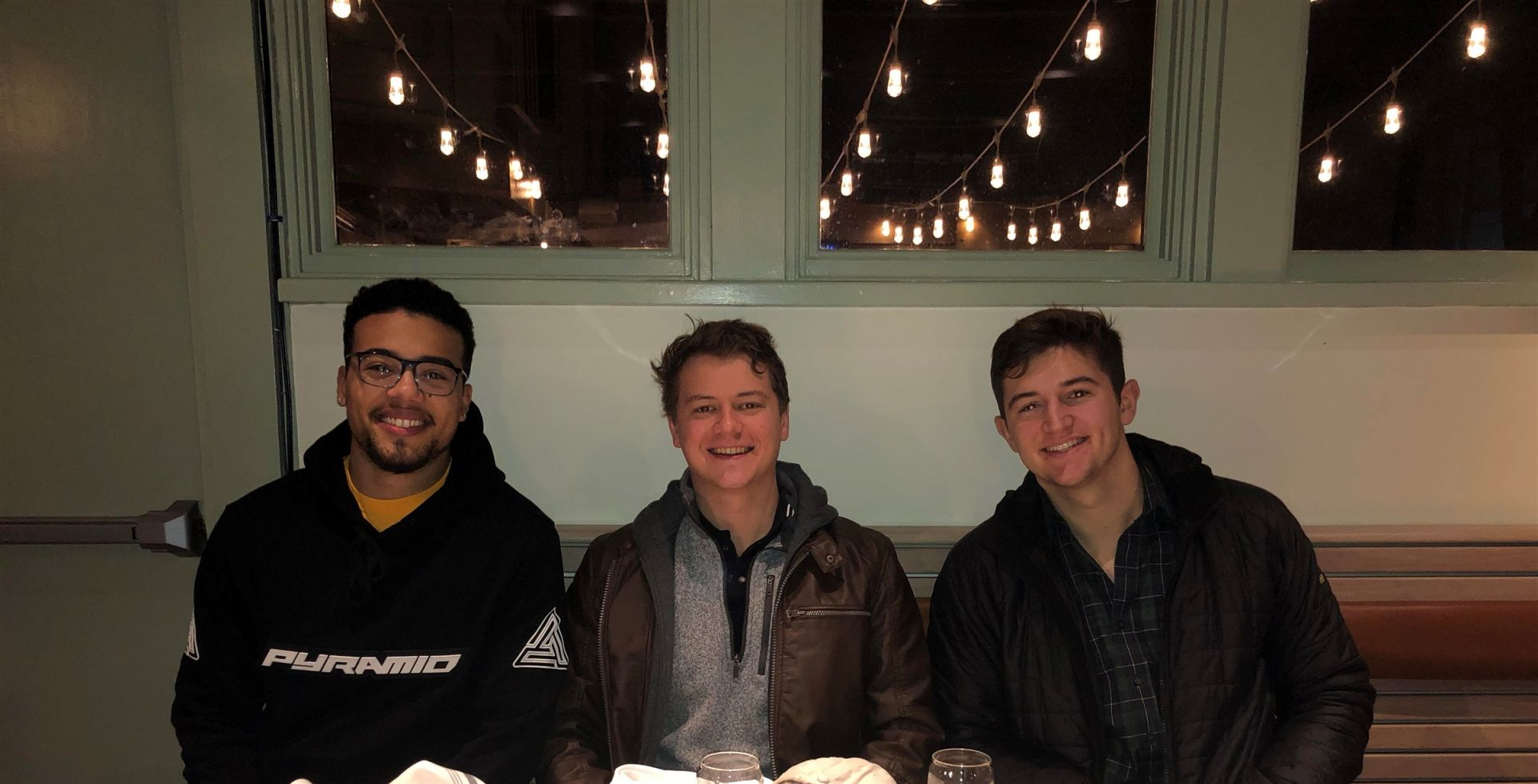 Dinner in Philadelphia on January 27 with UPENN students Hartman Russell '16, Alex Hall '15, and Nate Miller '17.