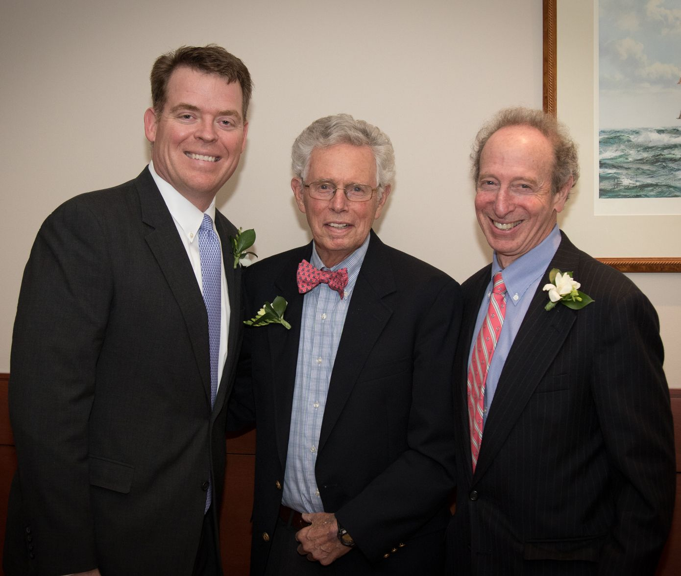 Current Head of School Greg Schneider with former Belmont Hill Heads of School Chris Wadsworth and Rick Melvoin.