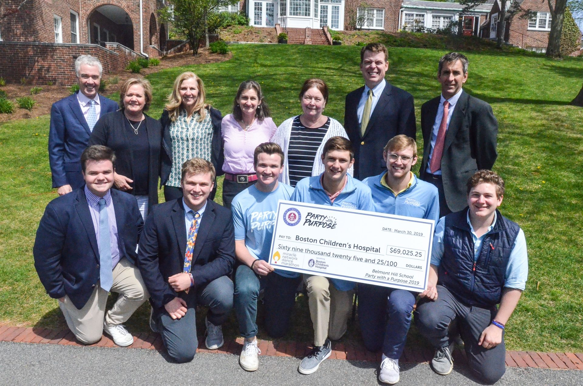PWAP student organizers along with parent and faculty leaders proudly presented a check for $69k to Boston Children's Hospital in May.